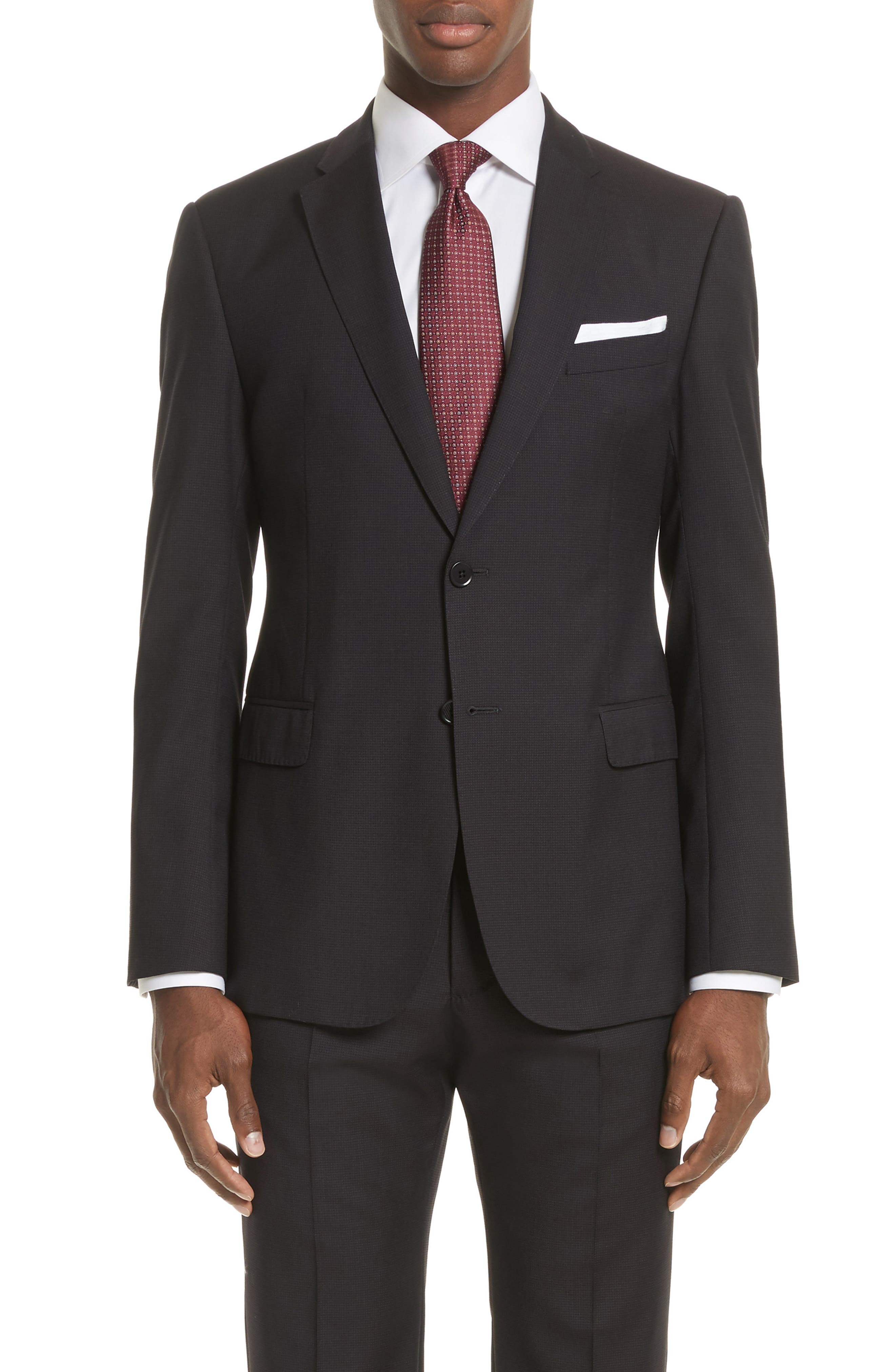 Emporio Armani M-Line Trim Fit Solid Wool Suit,                             Alternate thumbnail 4, color,                             Solid Dark Red