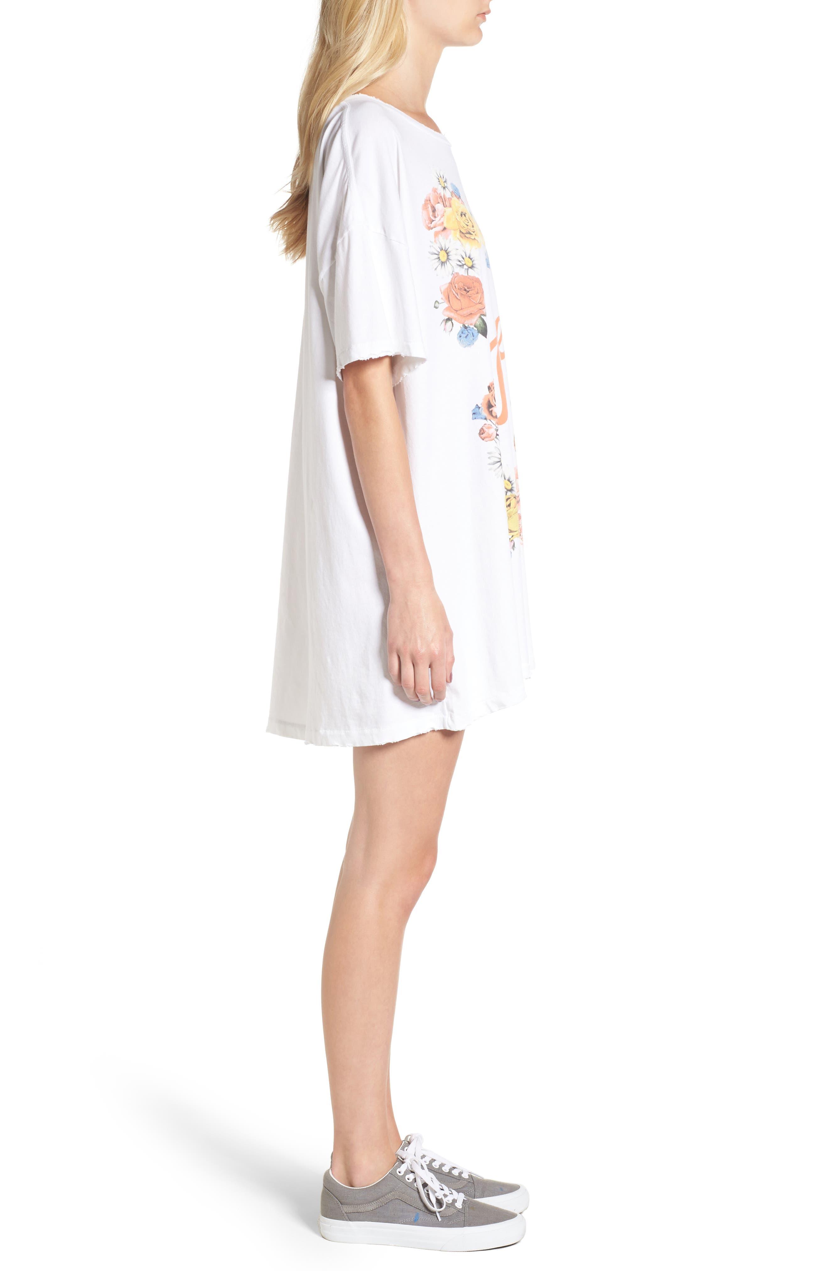 Babe T-Shirt Dress,                             Alternate thumbnail 3, color,                             Clean White