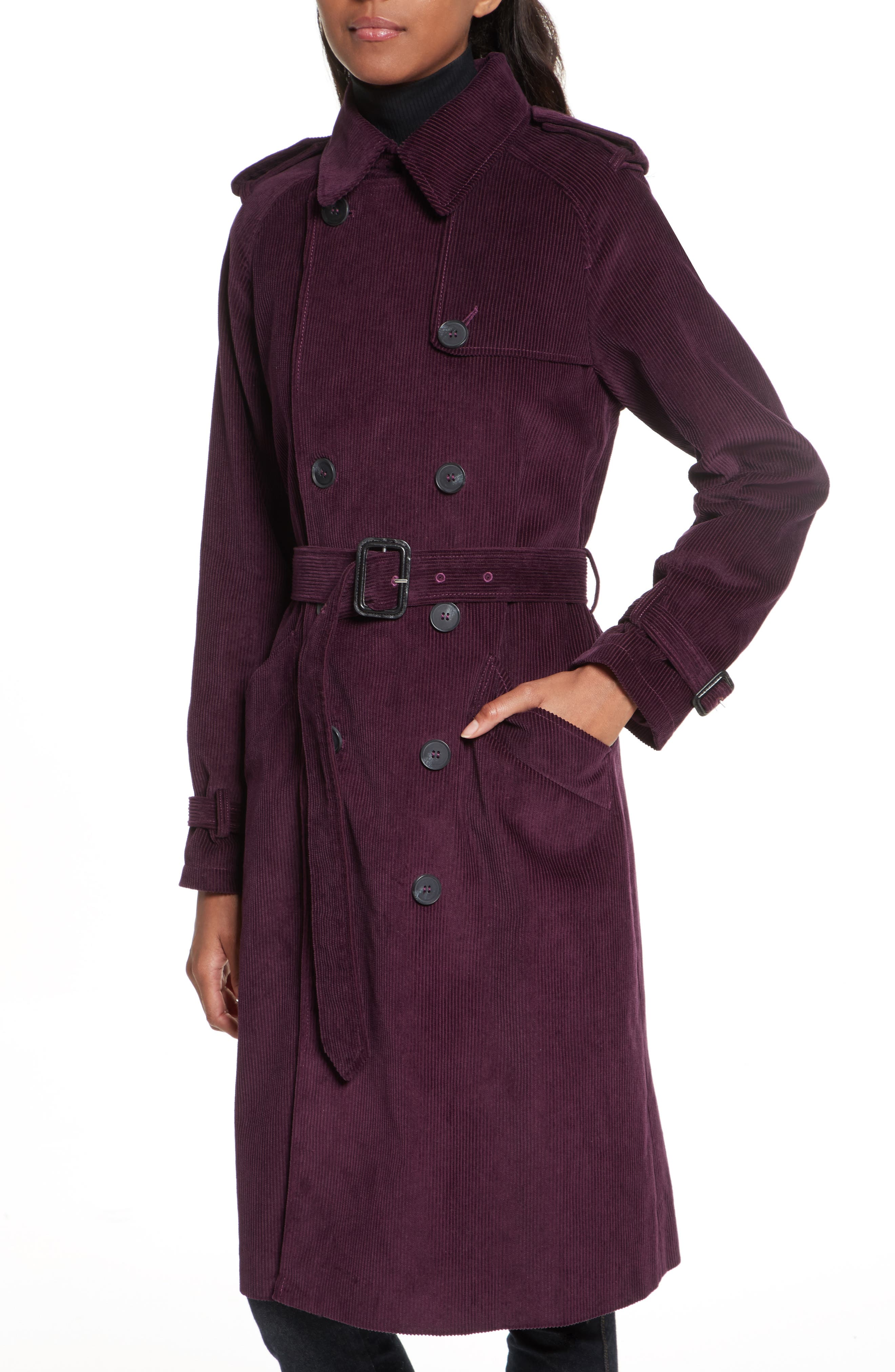 Ferry Double Breasted Corduroy Trench Coat,                         Main,                         color, Potent Purple