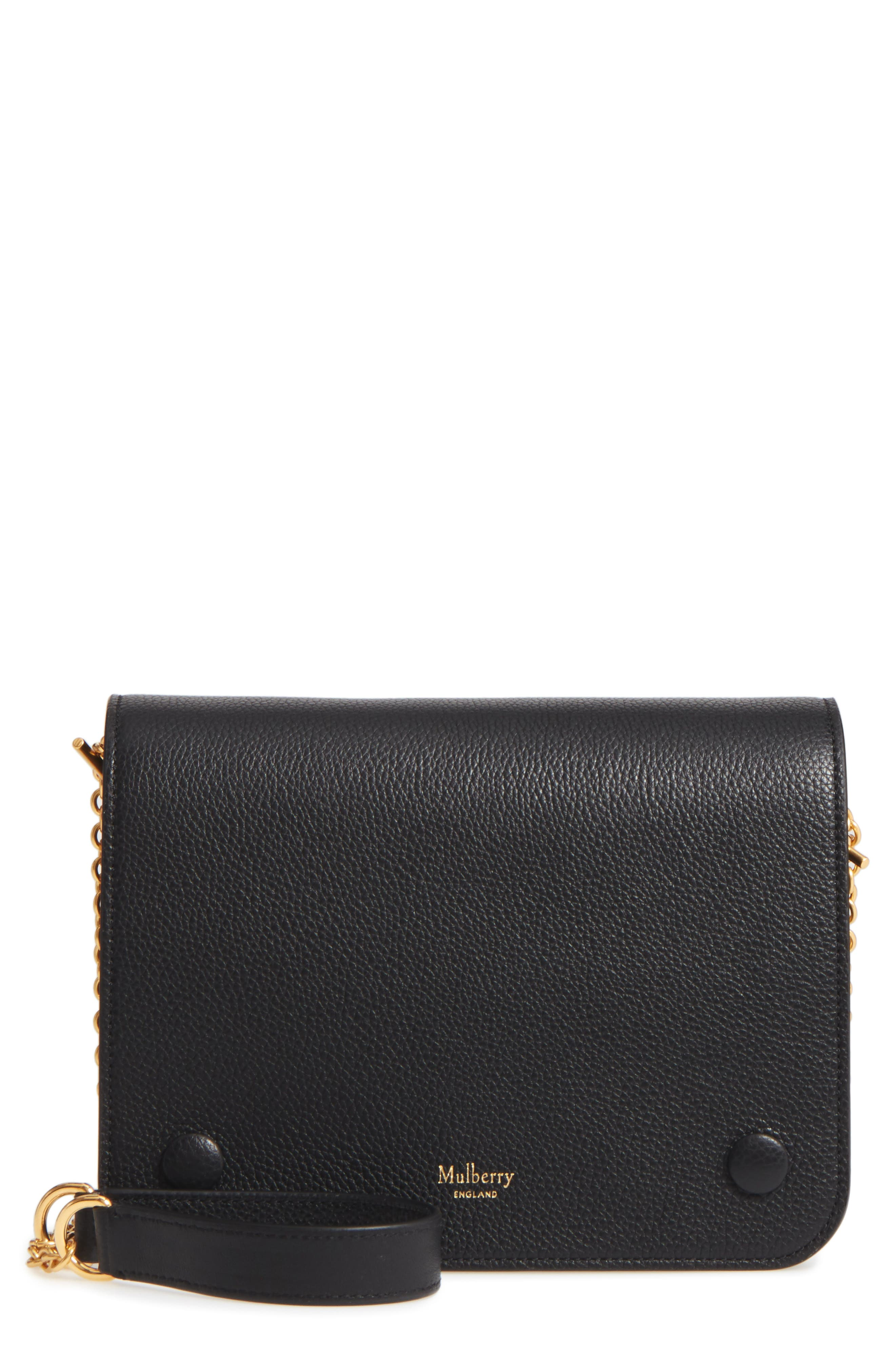 Clifton Leather Wallet on a Chain,                         Main,                         color, Black