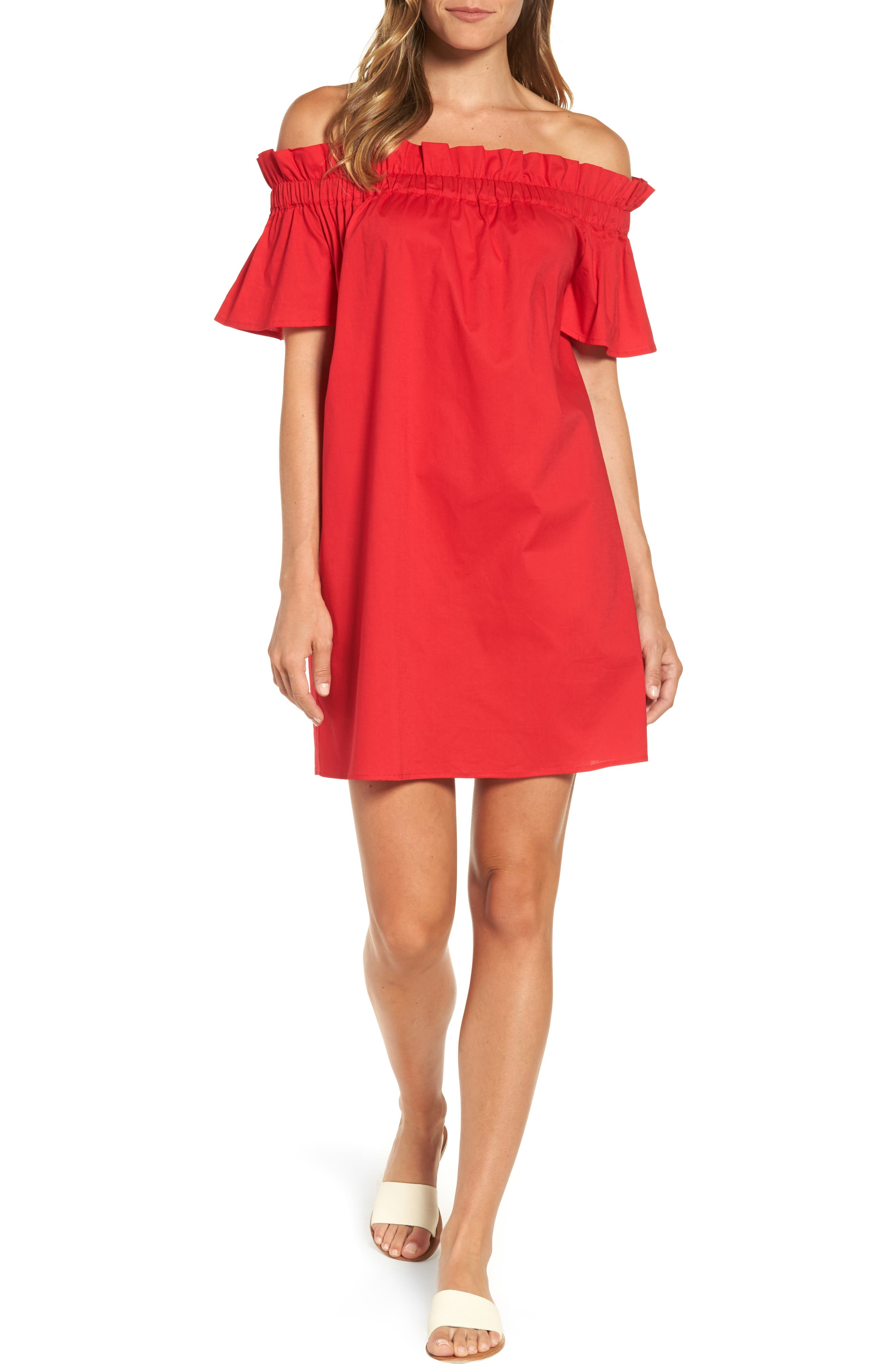 Pleione Off the Shoulder Poplin Shift Dress