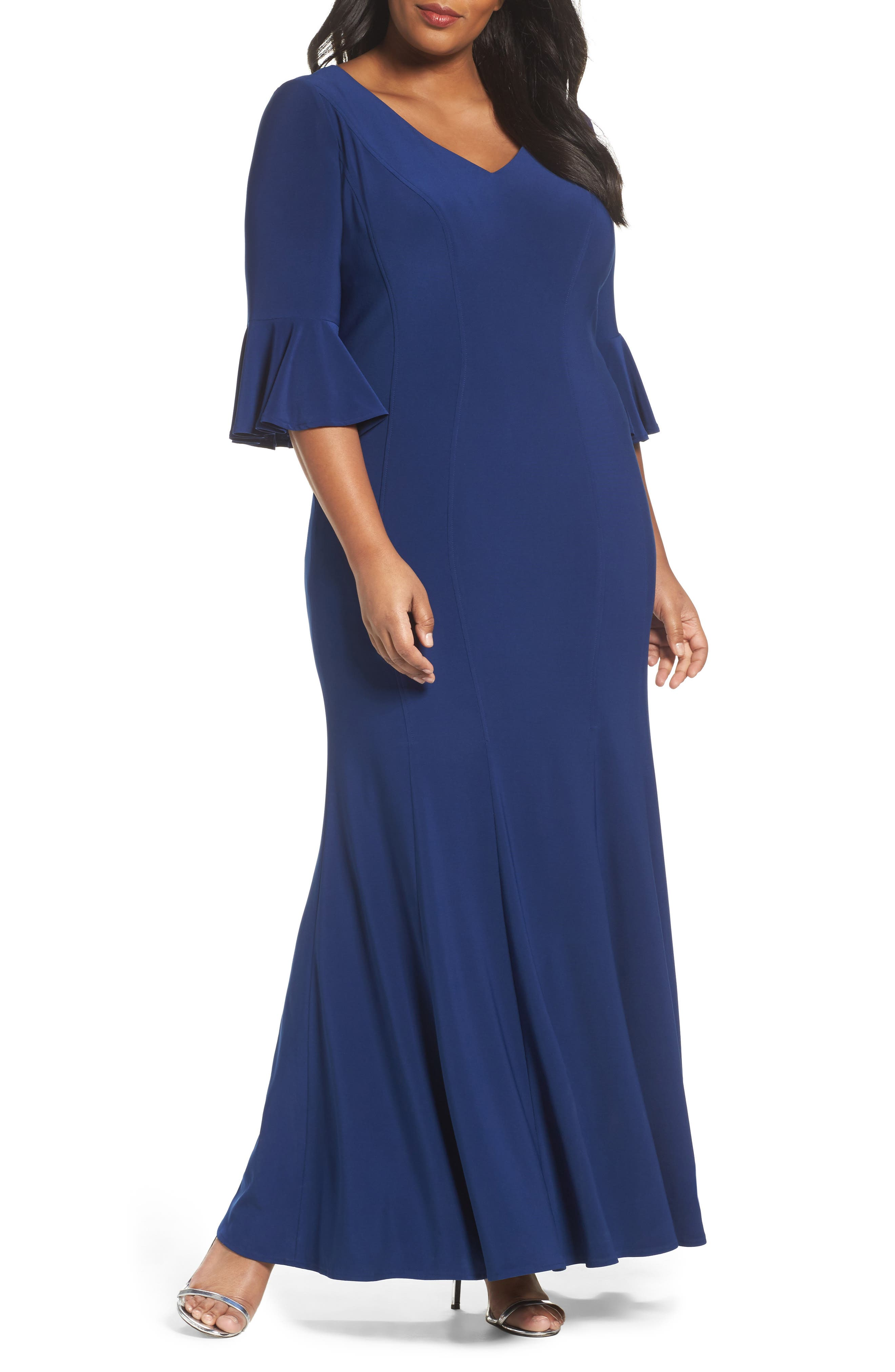 Fit & Flare Gown,                         Main,                         color, Evening Blue