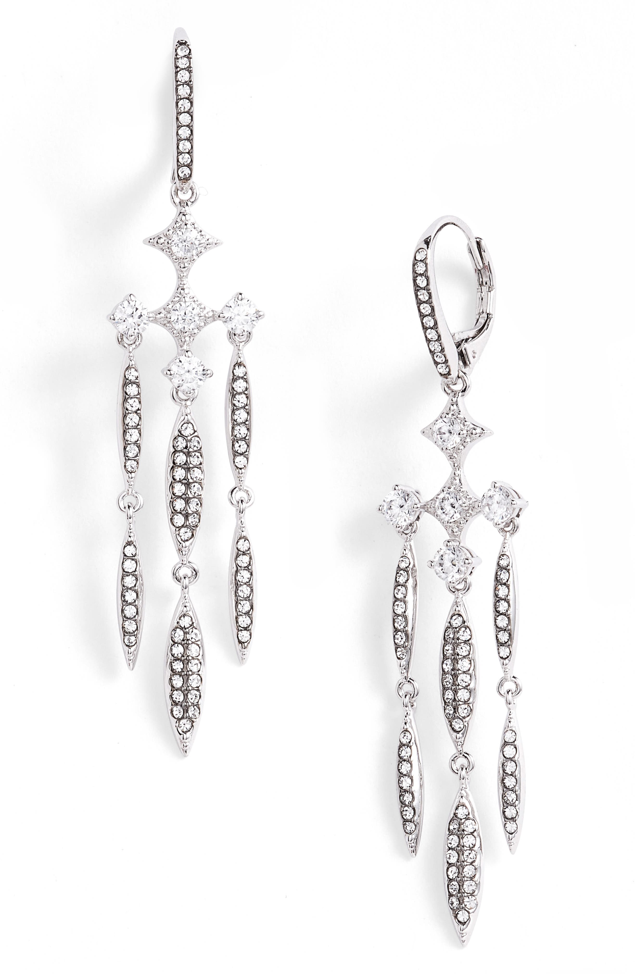 Cardamom Chandelier Earrings,                             Main thumbnail 1, color,                             Black / Silver