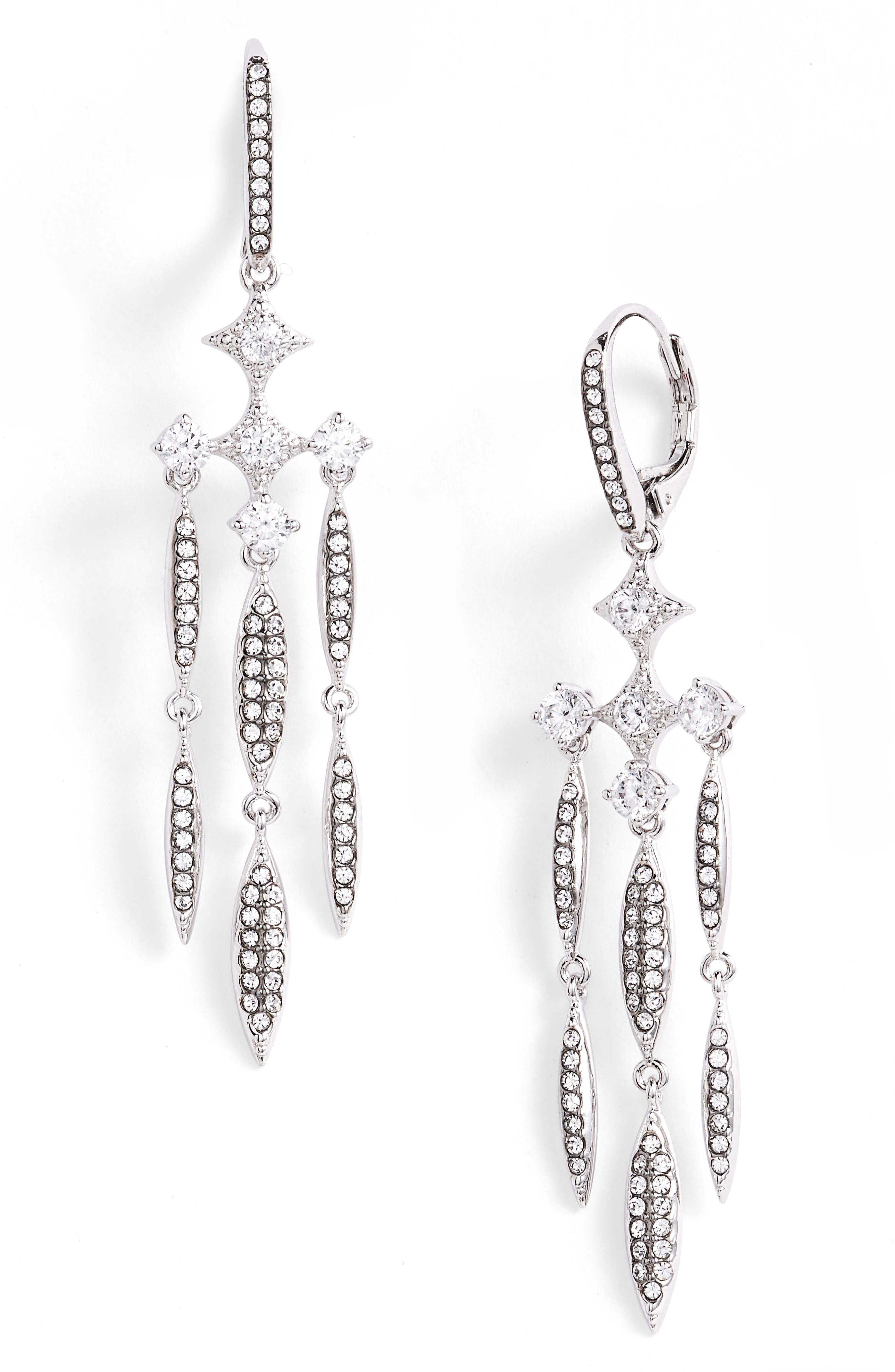 Cardamom Chandelier Earrings,                         Main,                         color, Black / Silver