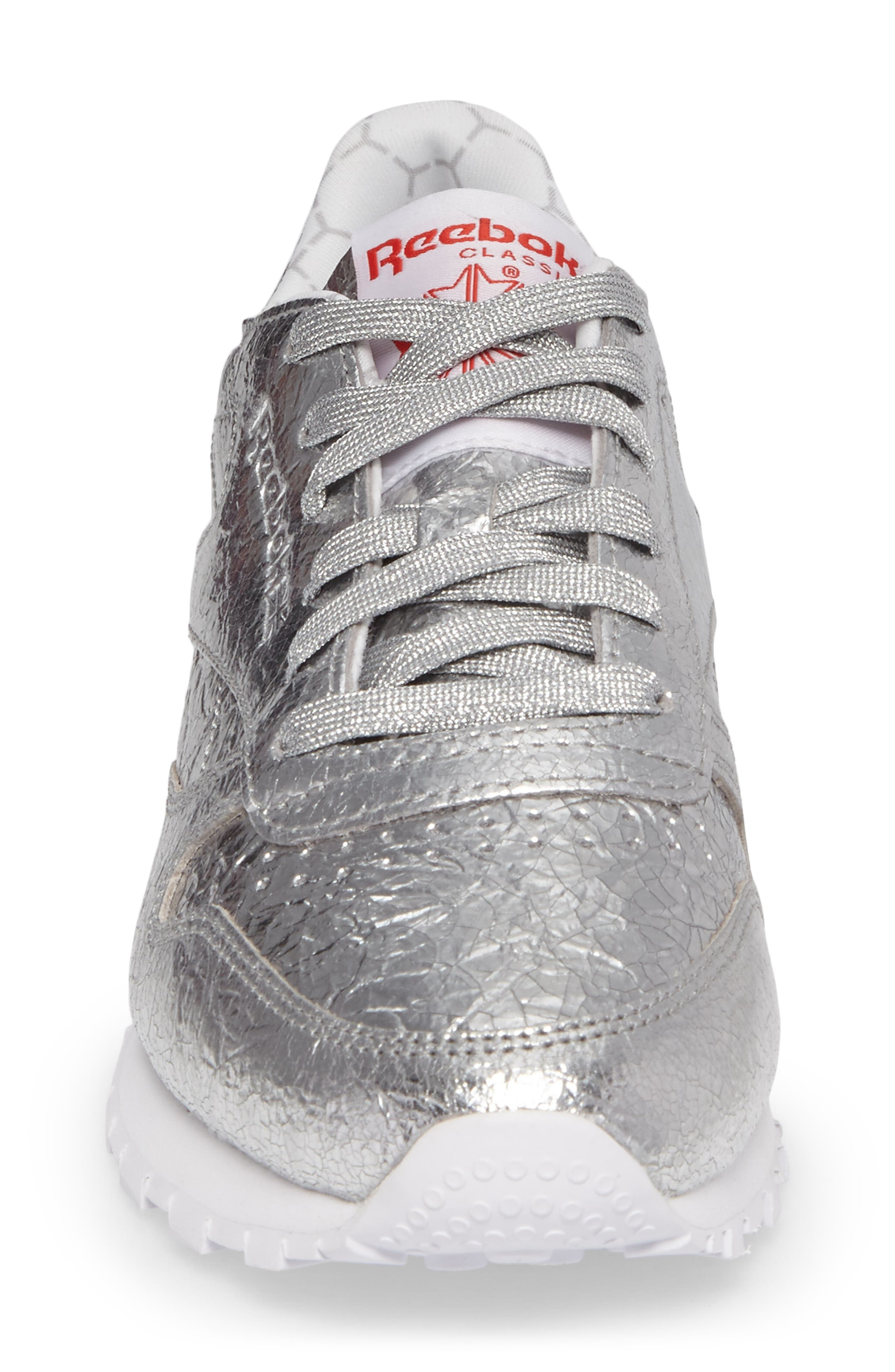 Classic Leather HD Foil Sneaker,                             Alternate thumbnail 4, color,                             Silver/ Grey/ Red/ White