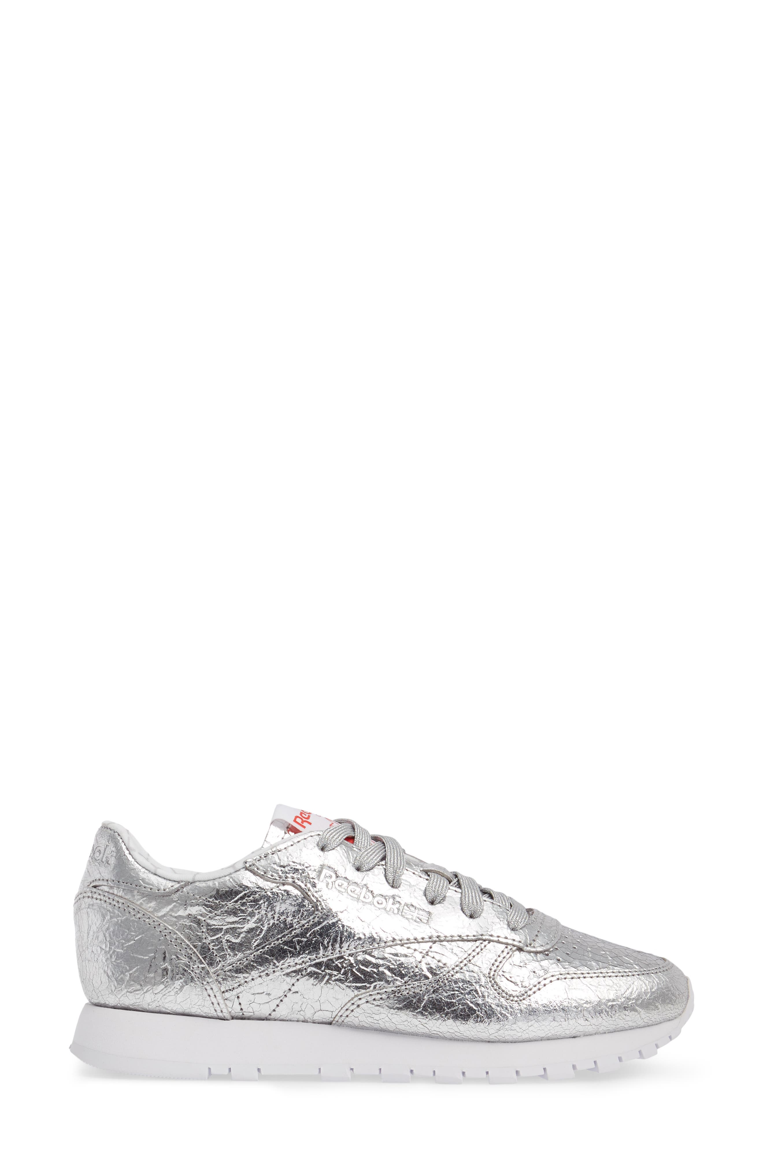 Classic Leather HD Foil Sneaker,                             Alternate thumbnail 3, color,                             Silver/ Grey/ Red/ White
