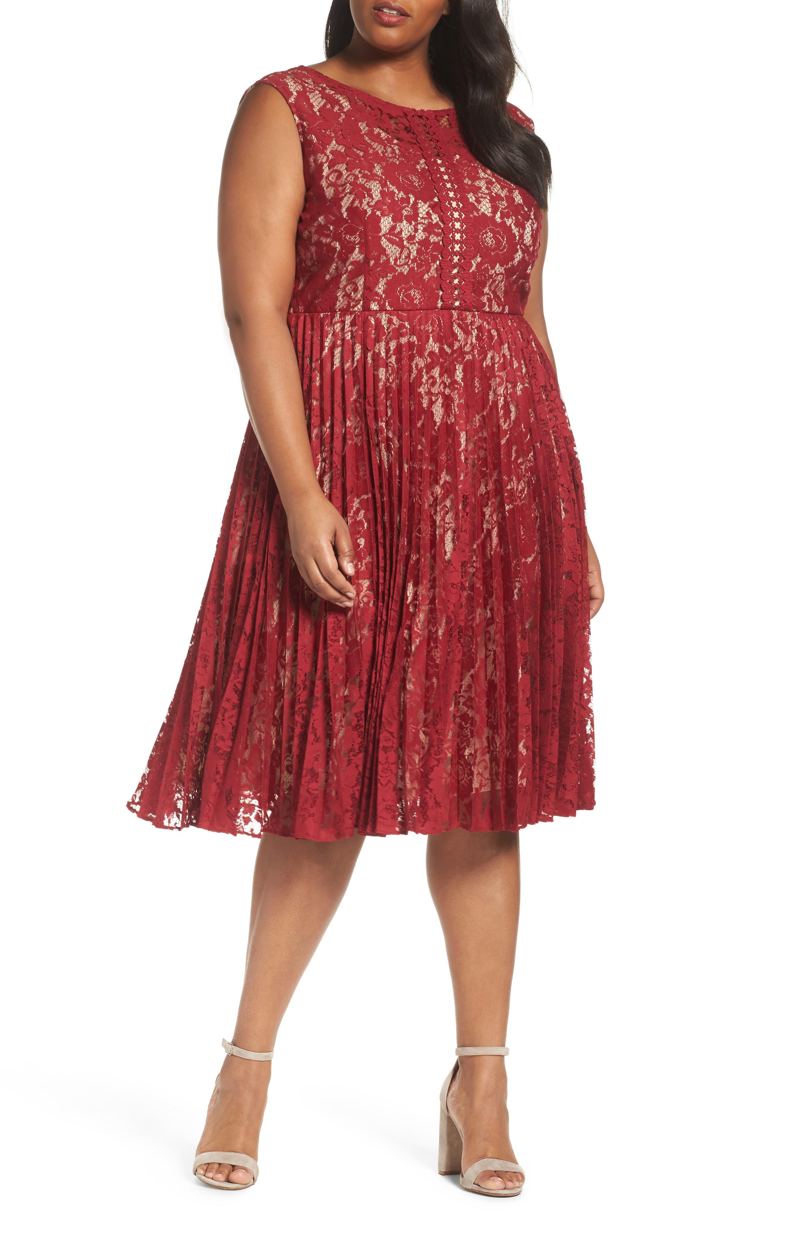 Illusion Lace Pleat Midi Dress,                         Main,                         color, Cranberry/ Nude