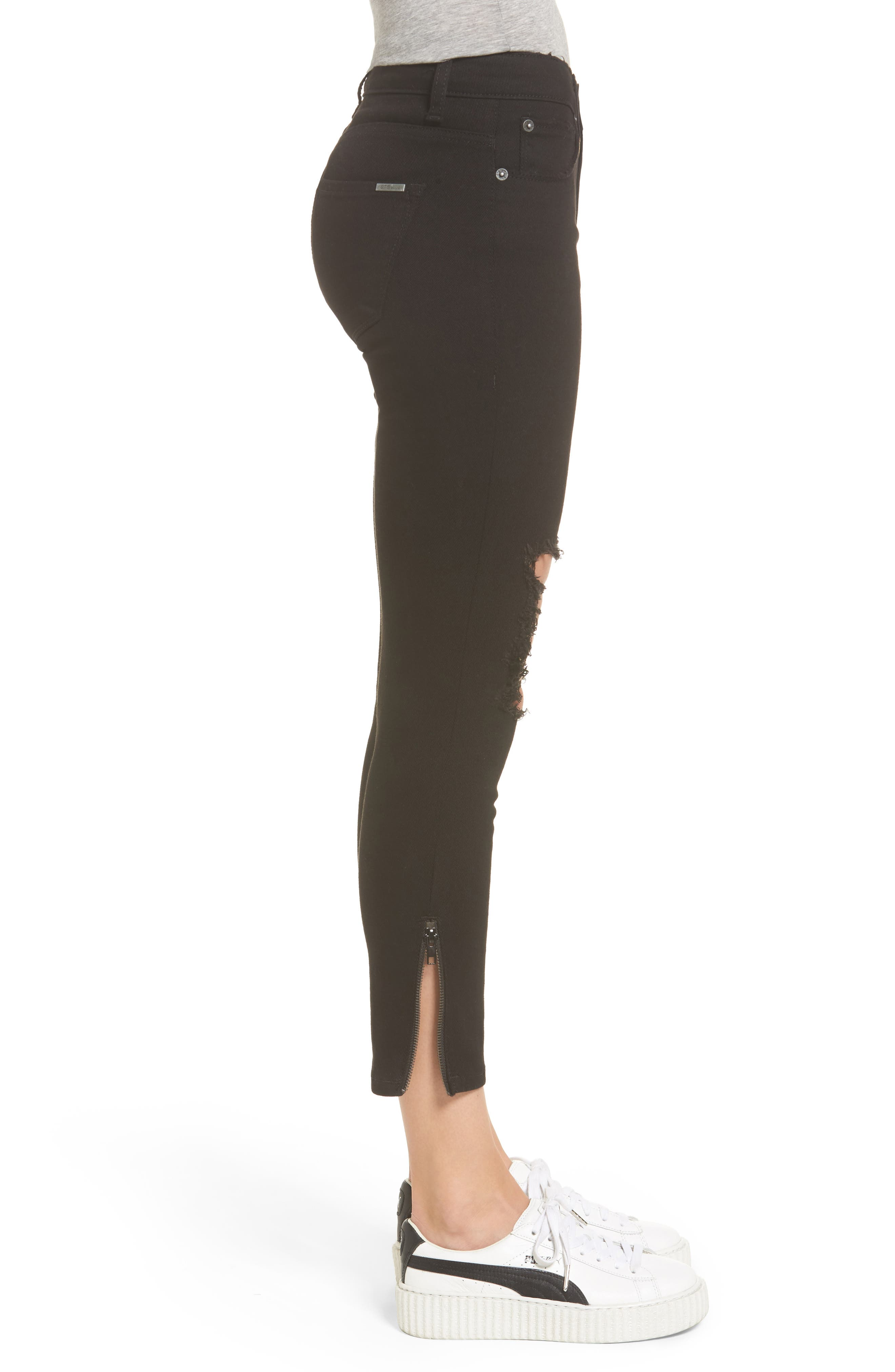 Emma Side Zip Skinny Jeans,                             Alternate thumbnail 3, color,                             Black