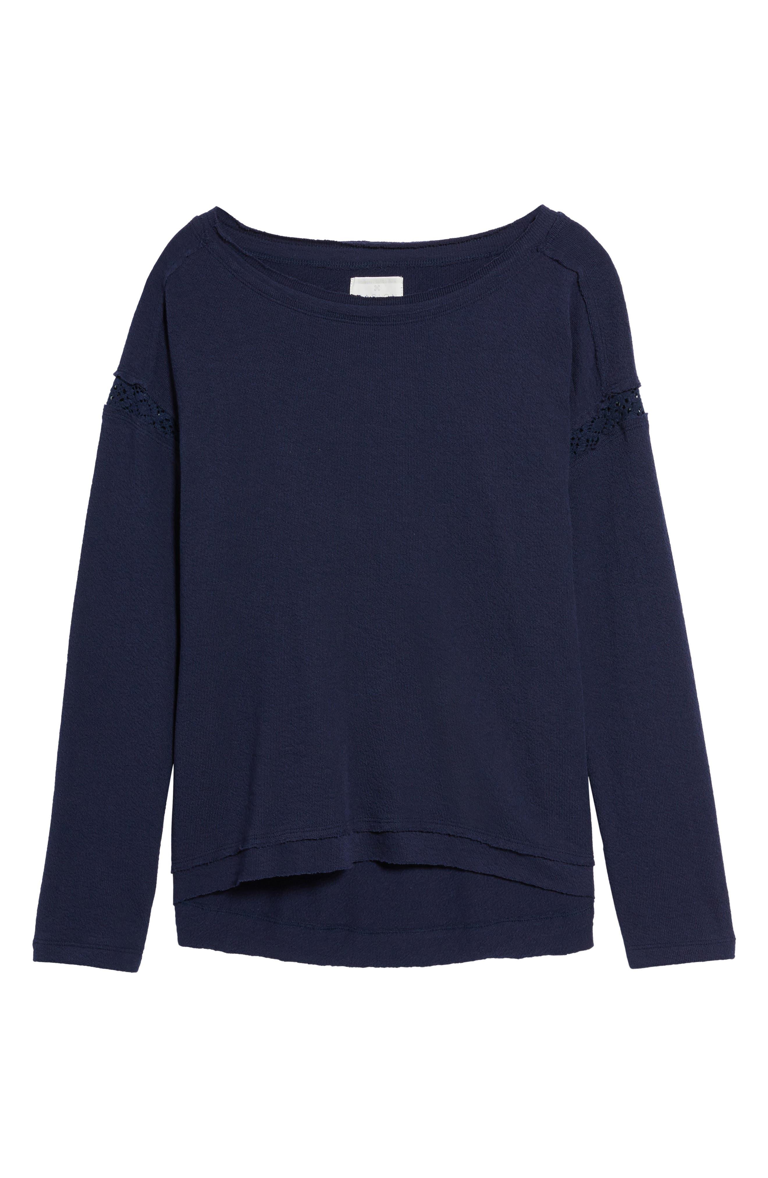 Crochet Lace Trim Sweatshirt,                             Alternate thumbnail 6, color,                             Navy Peacoat