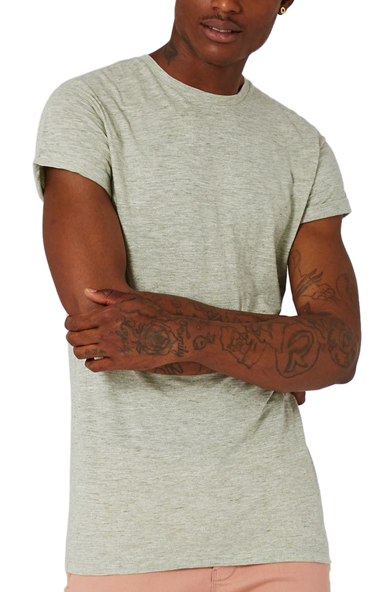 Muscle Fit Roll Sleeve T-Shirt,                         Main,                         color, Light Olive