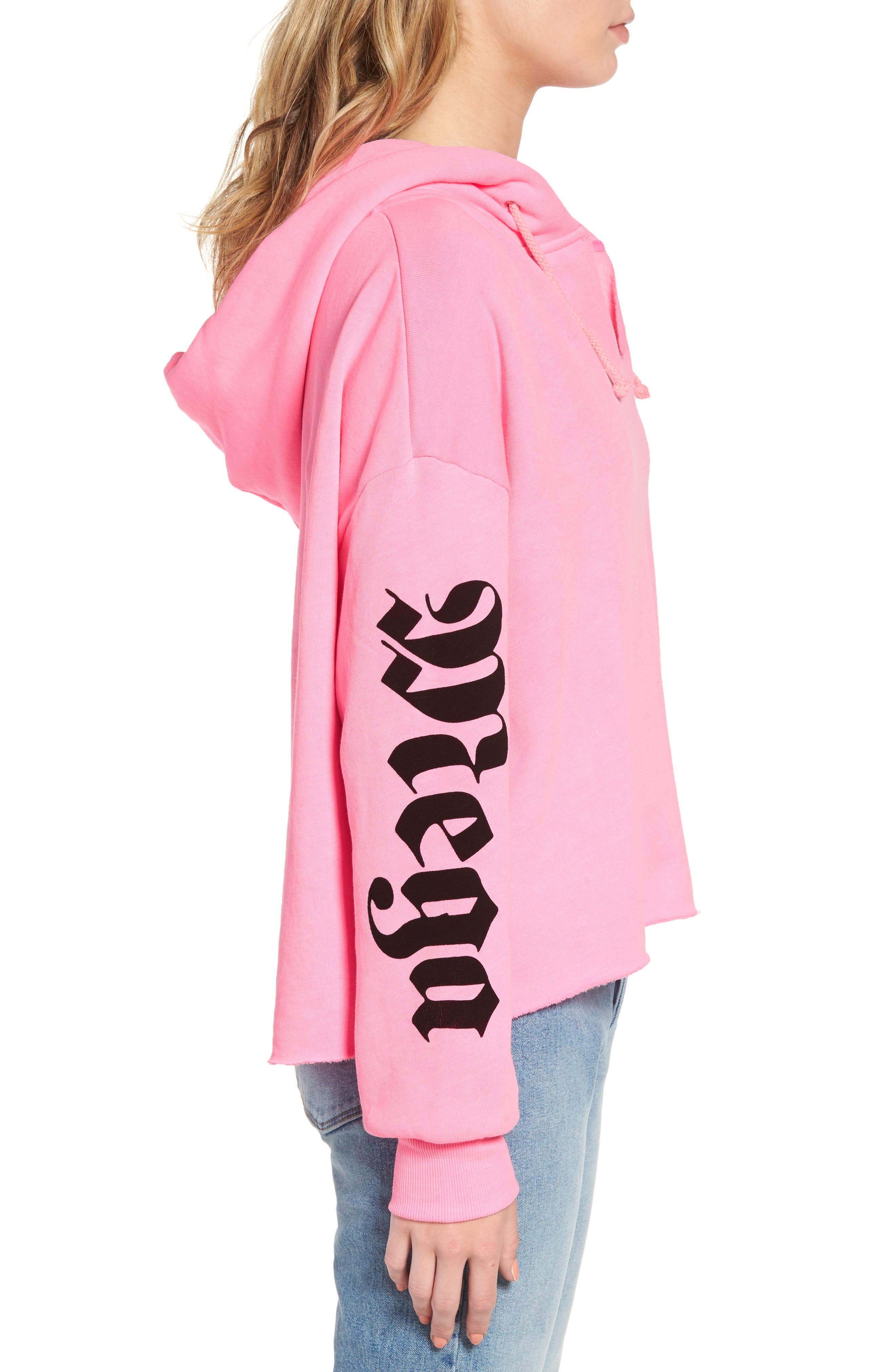 Mega Chic Freddy Hoodie,                             Alternate thumbnail 5, color,                             Neon Sign Pink