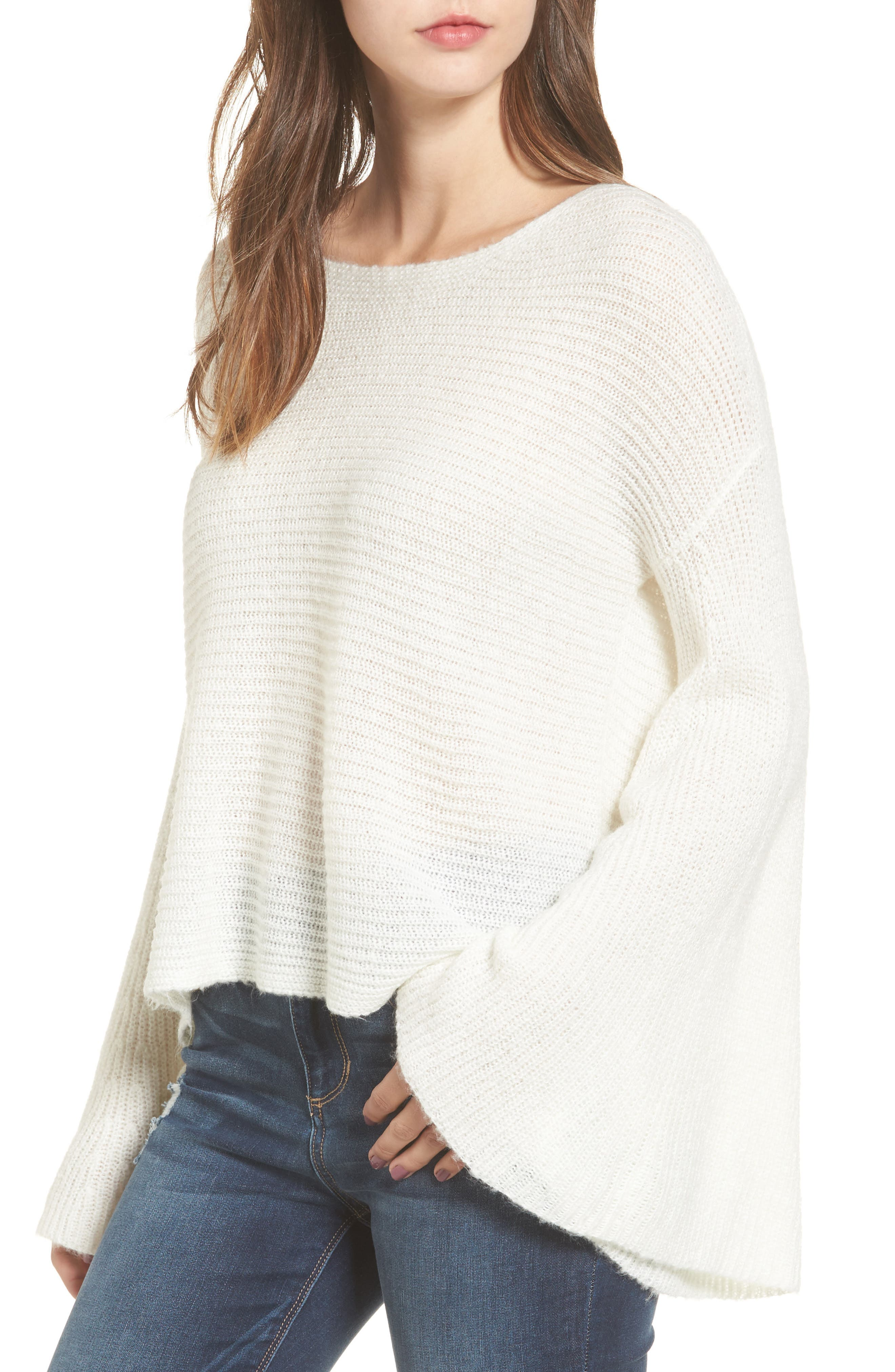 Flare Sleeve Sweater,                         Main,                         color, Ivory Egret