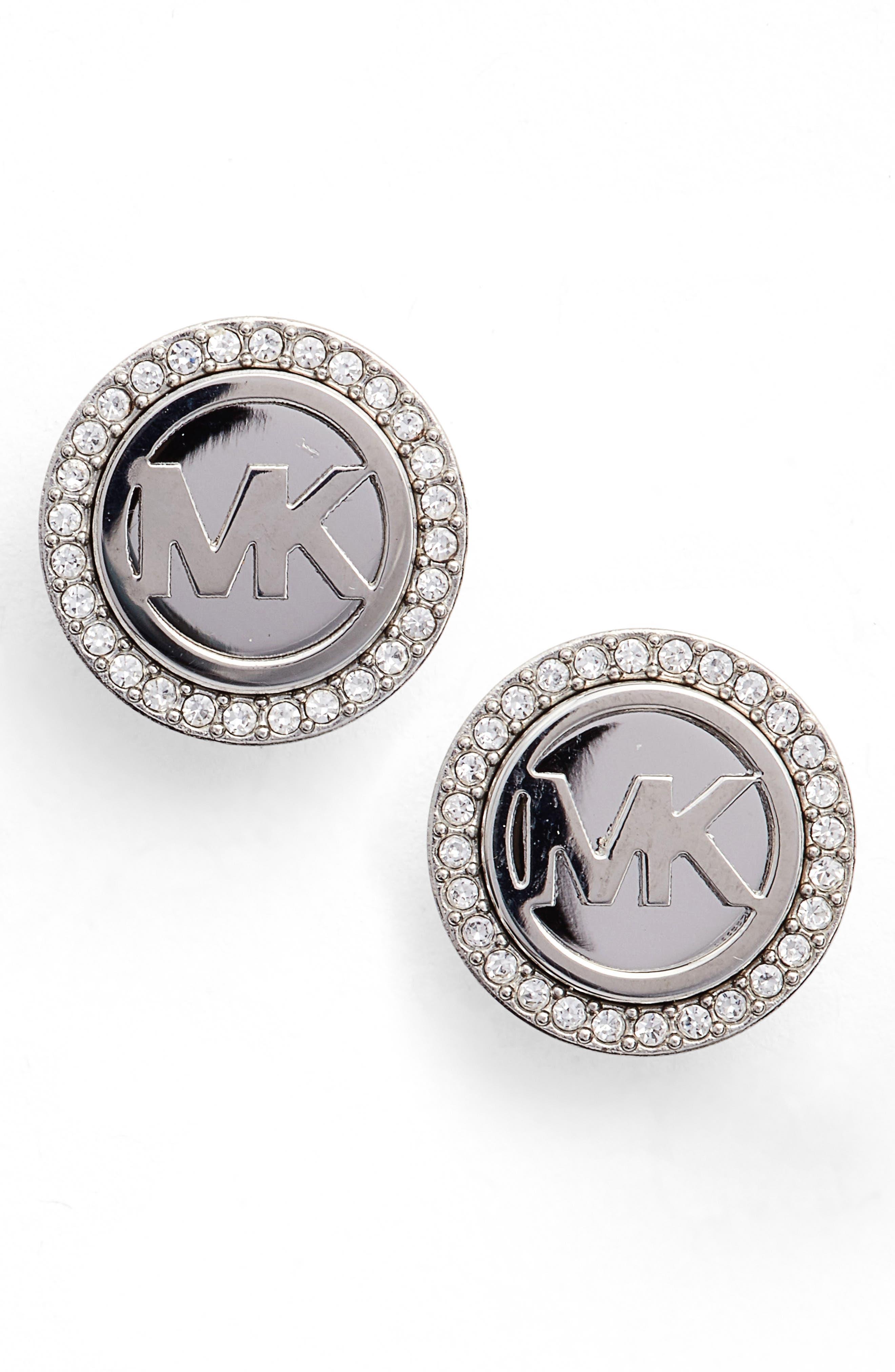 Stud Earrings,                         Main,                         color, Silver