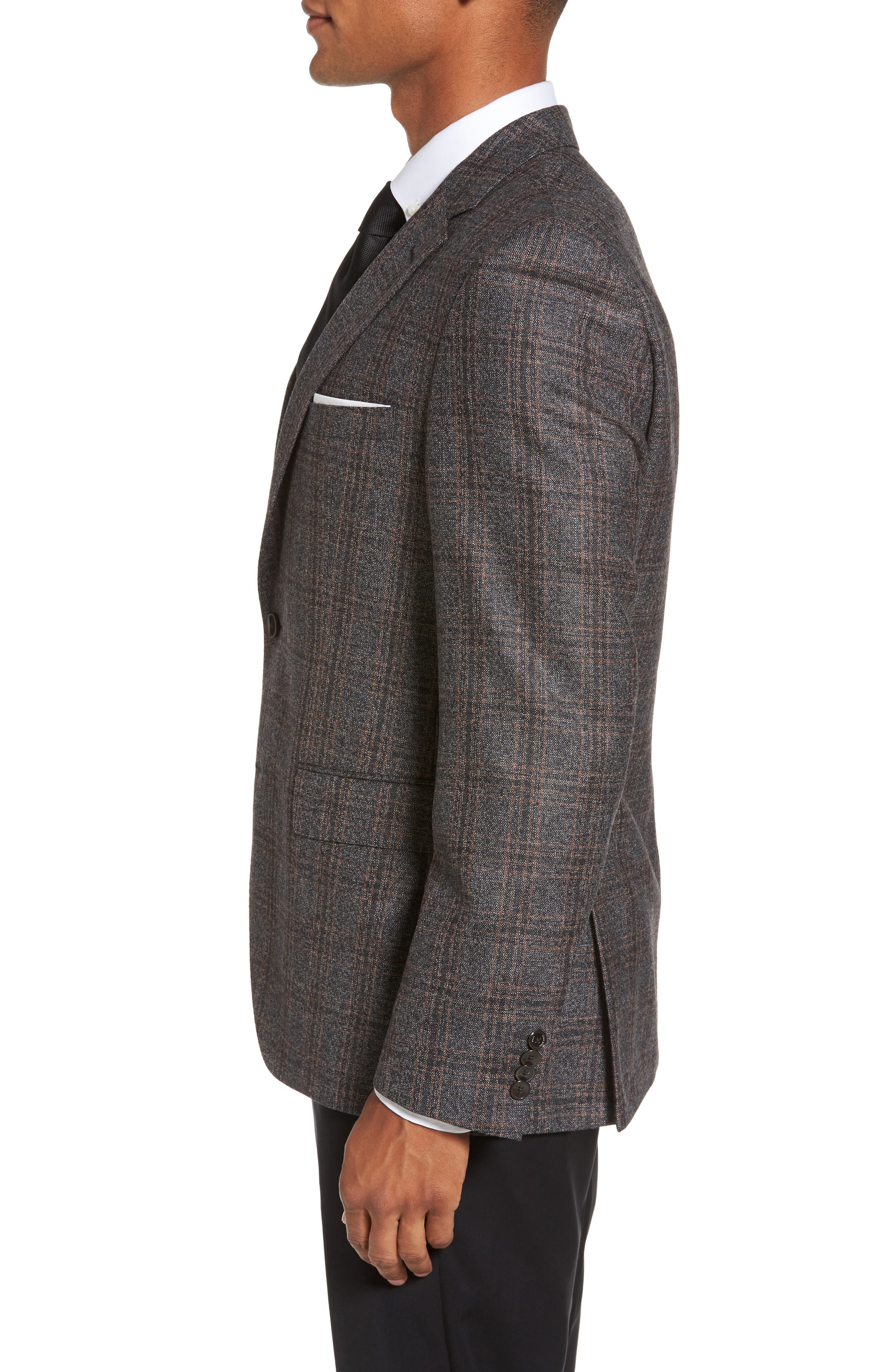 Jeen Trim Fit Plaid Wool Sport Coat,                             Alternate thumbnail 3, color,                             Dark Brown