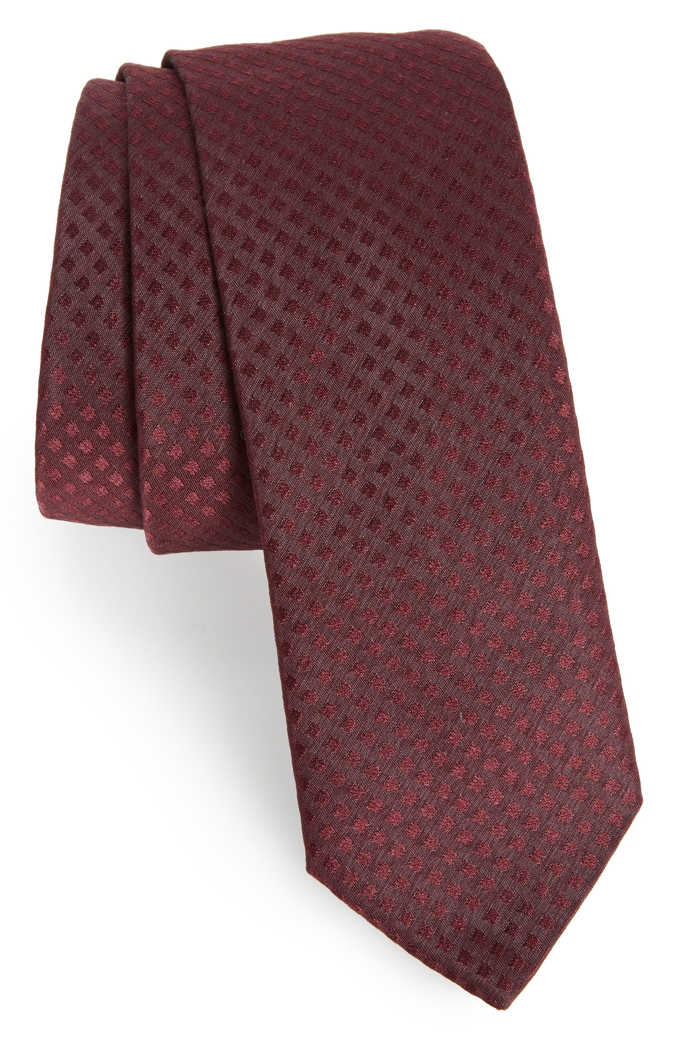 Solid Silk Skinny Tie,                         Main,                         color, Dark Red