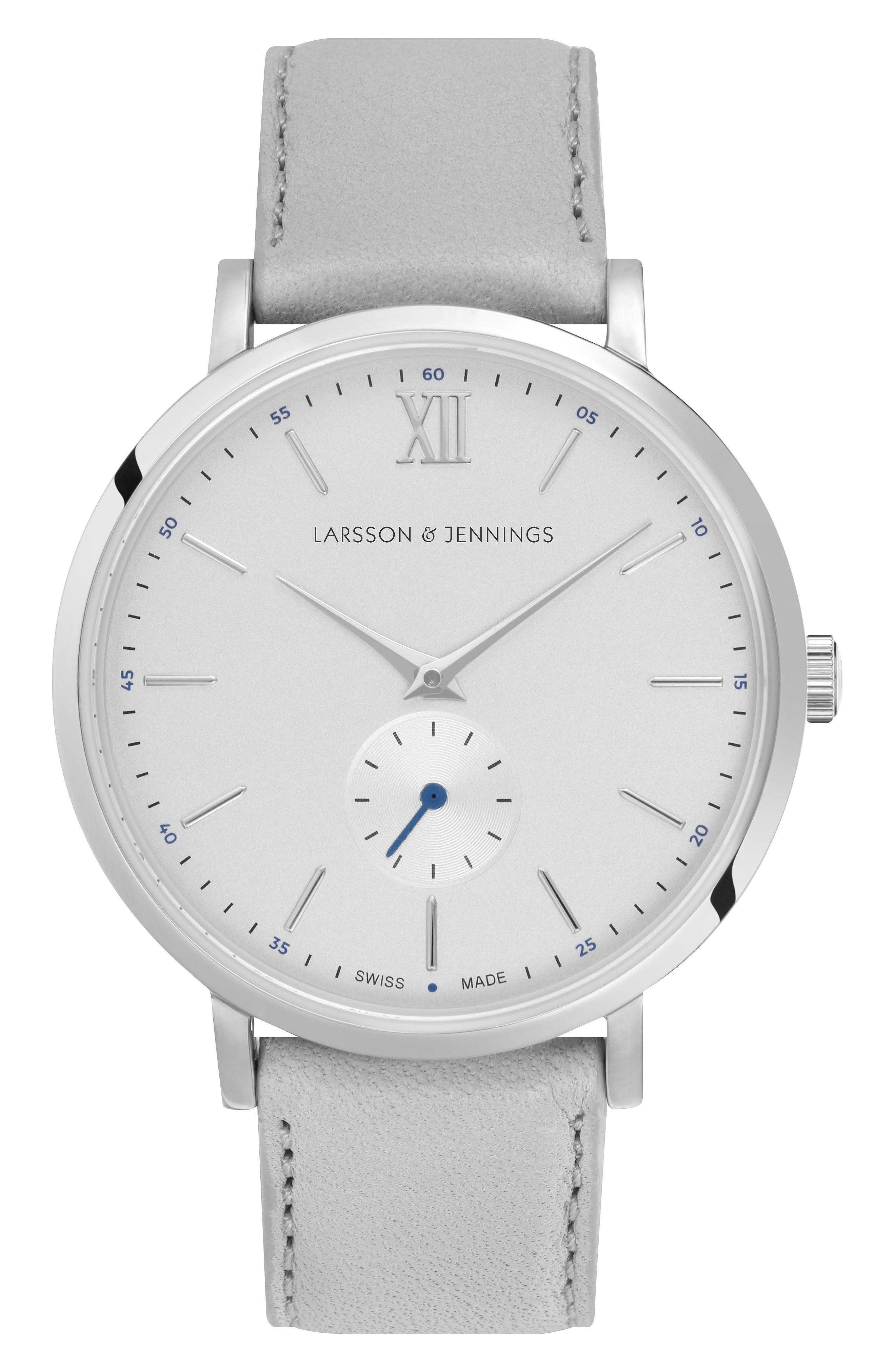Lugano Leather Strap Watch, 38mm,                         Main,                         color, Grey/ Silver