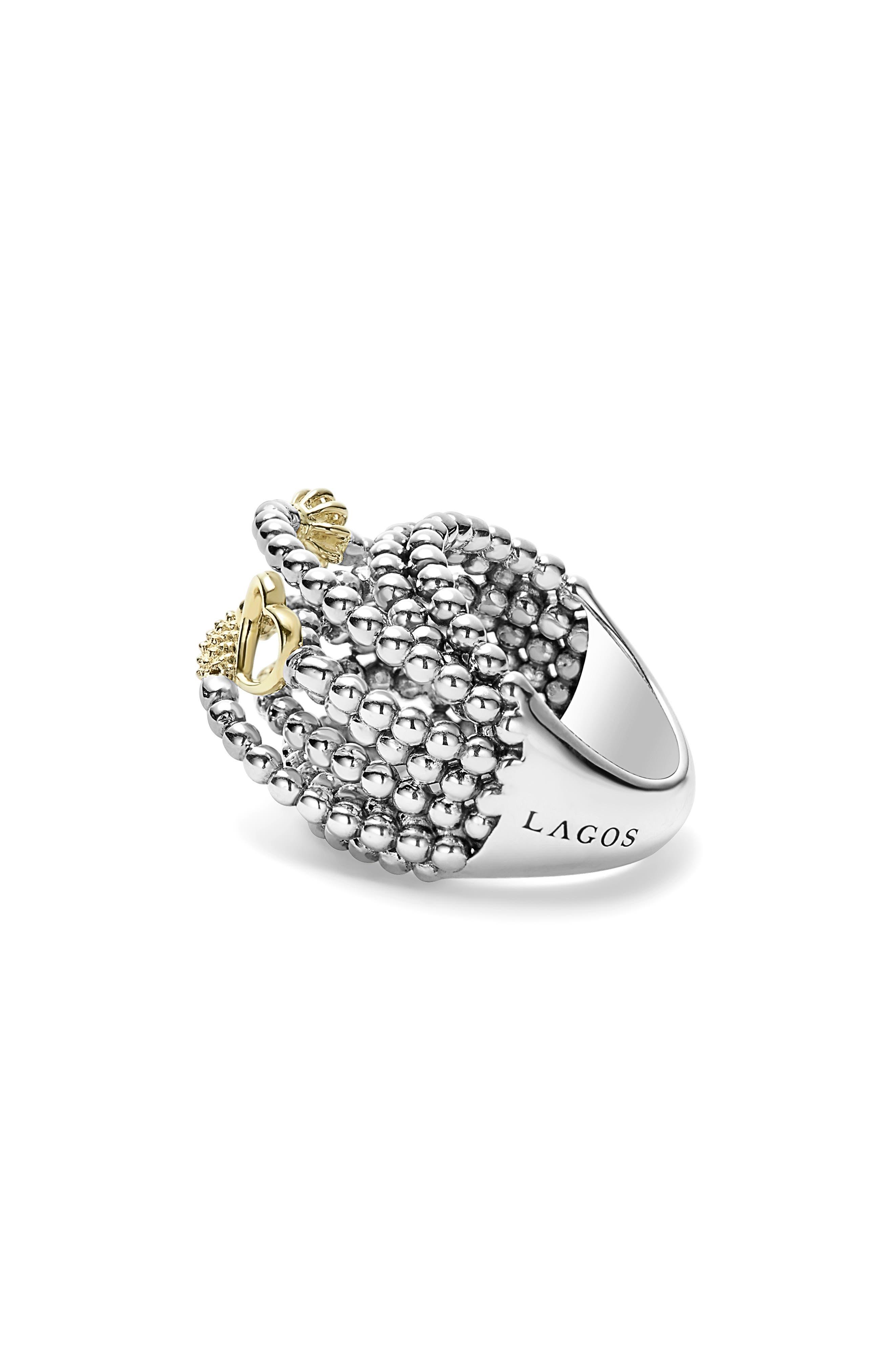 'Caviar Icon' Multi-Row Dome Ring,                             Alternate thumbnail 3, color,                             Silver/ Gold