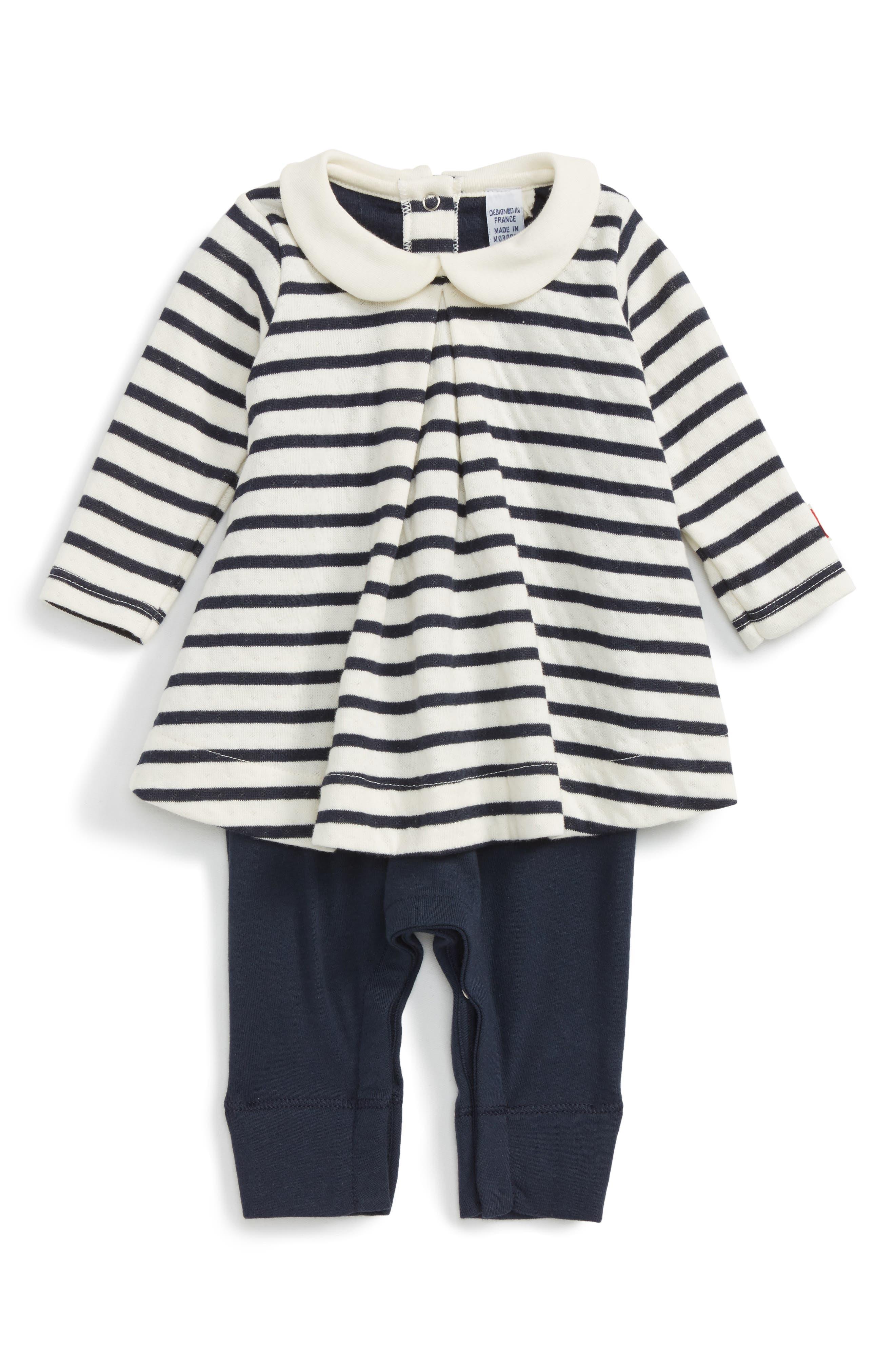 Main Image - Petit Bateau Stripe Romper (Baby Girls)