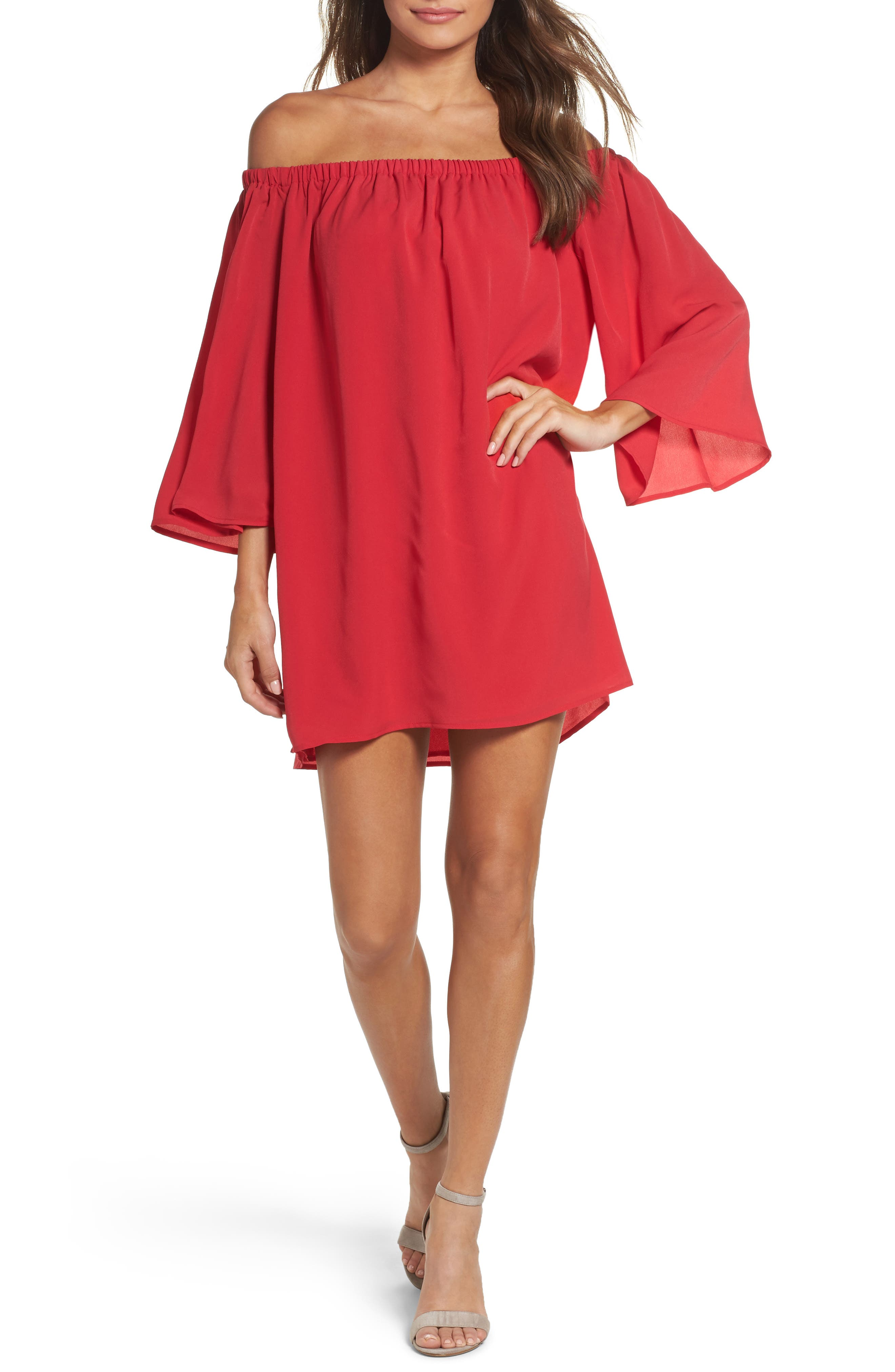 Polly Off the Shoulder Dress,                         Main,                         color, Watermelon