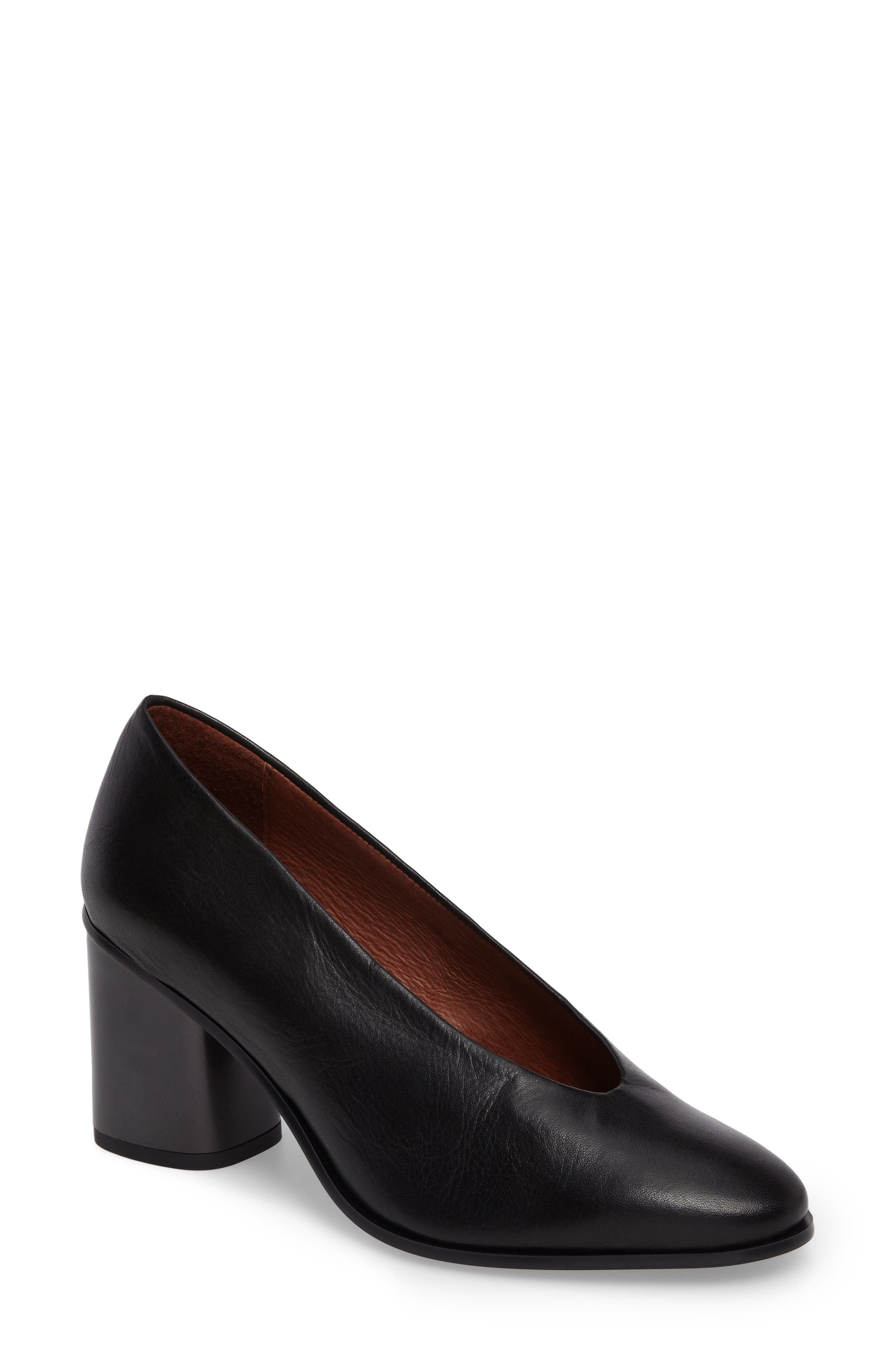 Maddie Block Heel Pump,                             Main thumbnail 1, color,                             Soho Black Leather