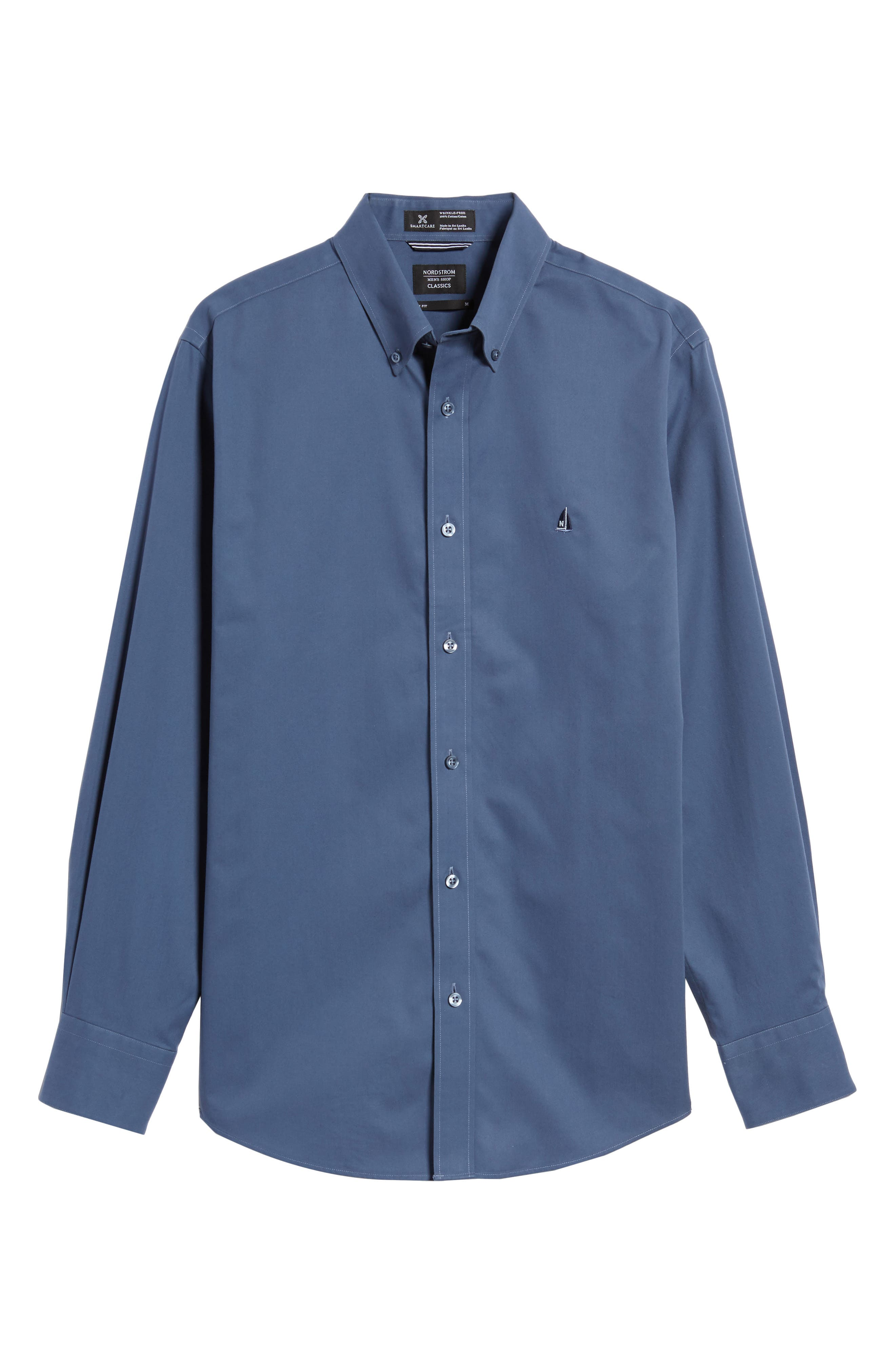 Alternate Image 6  - Nordstrom Men's Shop Smartcare™ Traditional Fit Twill Boat Shirt (Regular & Tall)