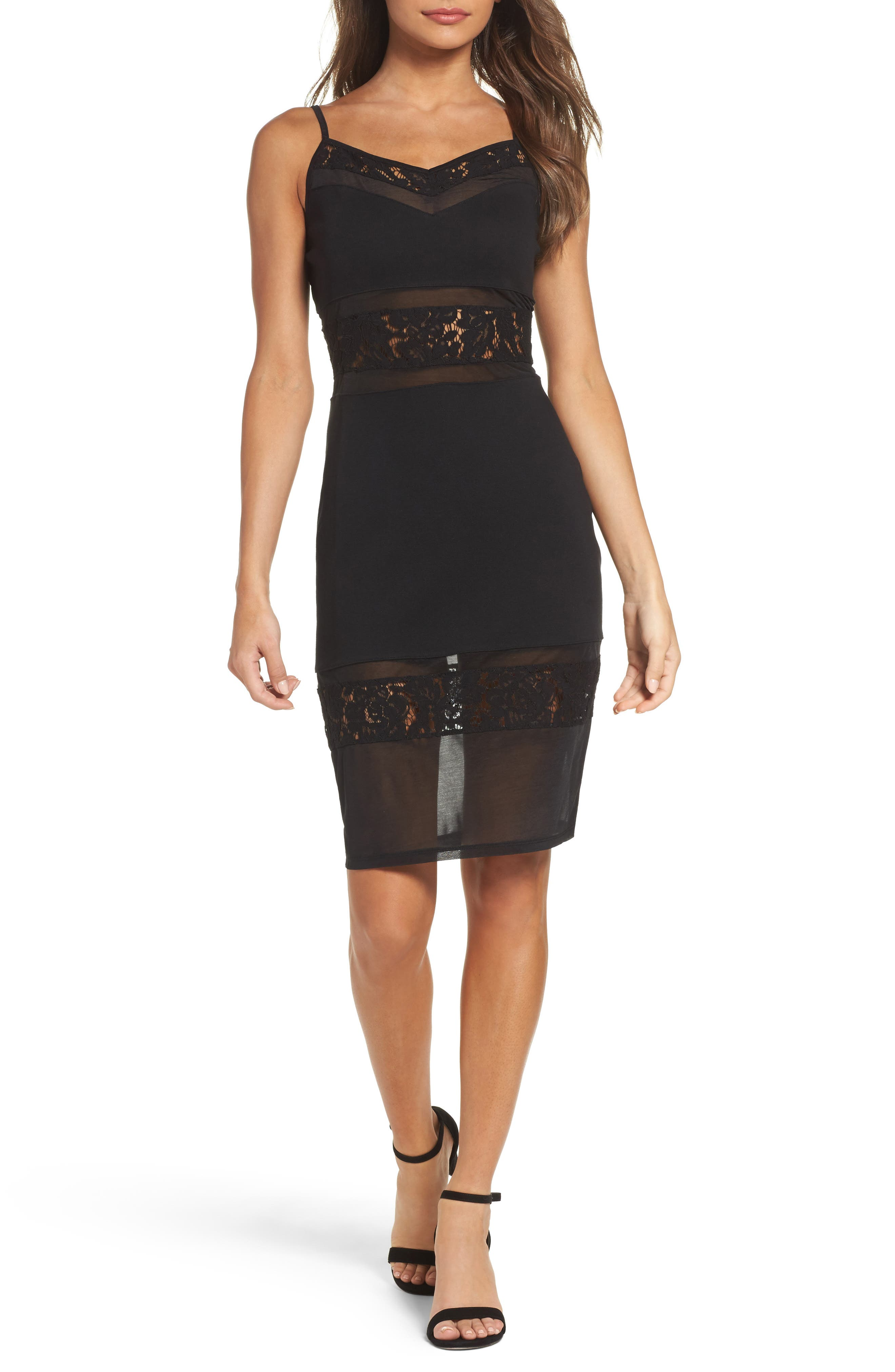 Lucky Layer Embroidered Mesh Sheath Dress,                             Main thumbnail 1, color,                             Black