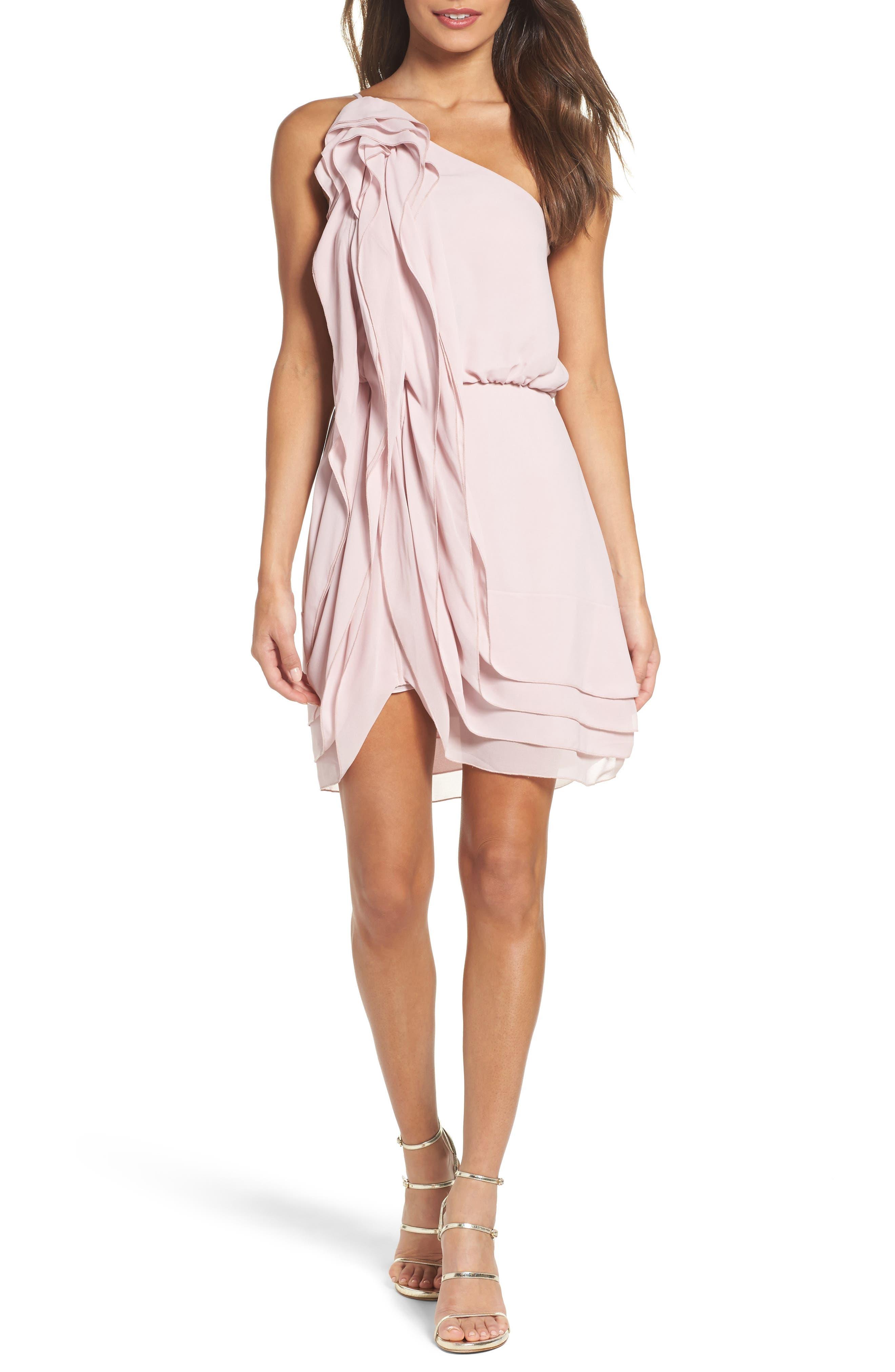 BCBGMAXAZRIA Waterfall Ruffle Dress