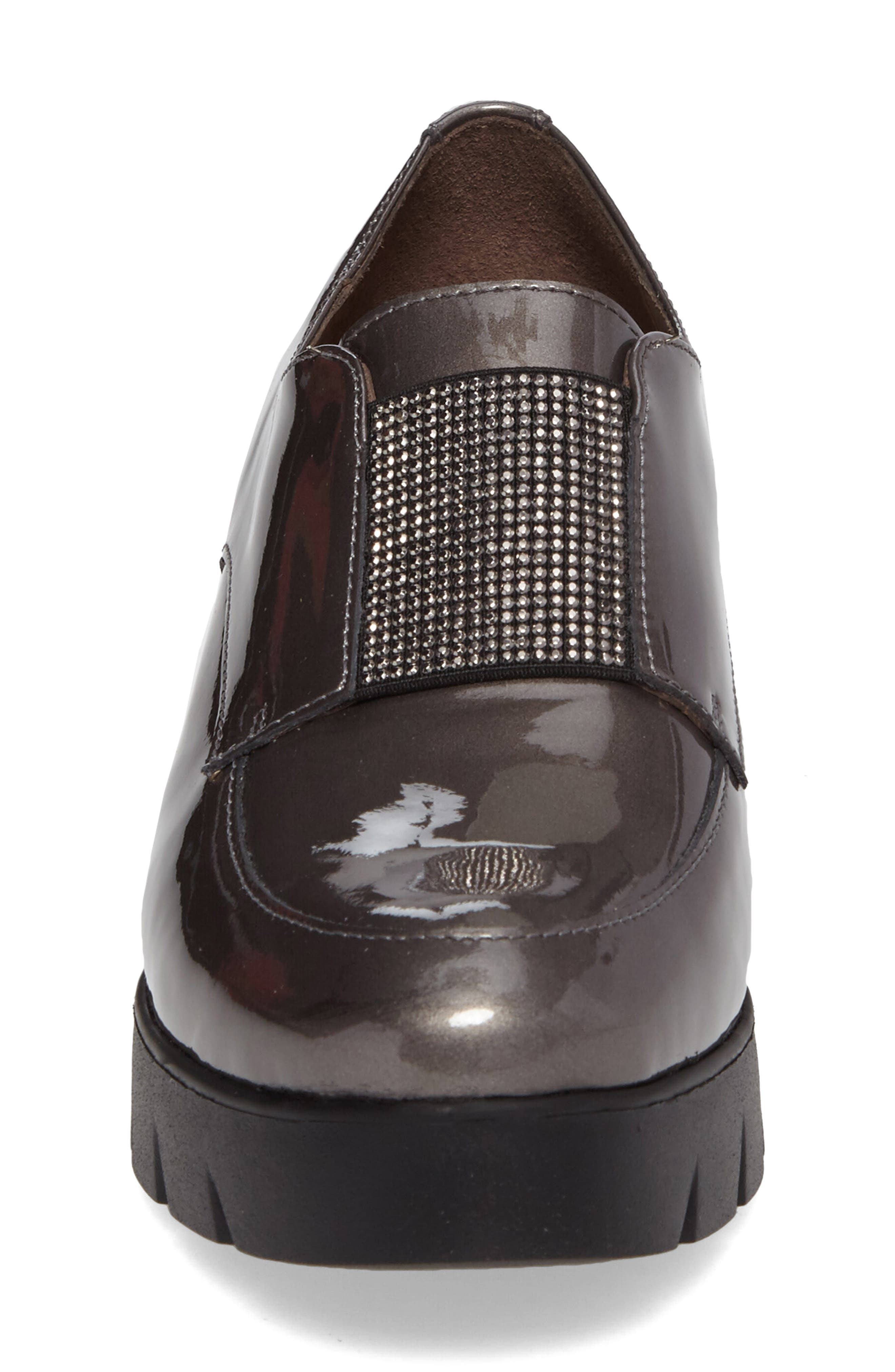Loafer Flat,                             Alternate thumbnail 4, color,                             Silver Patent Leather