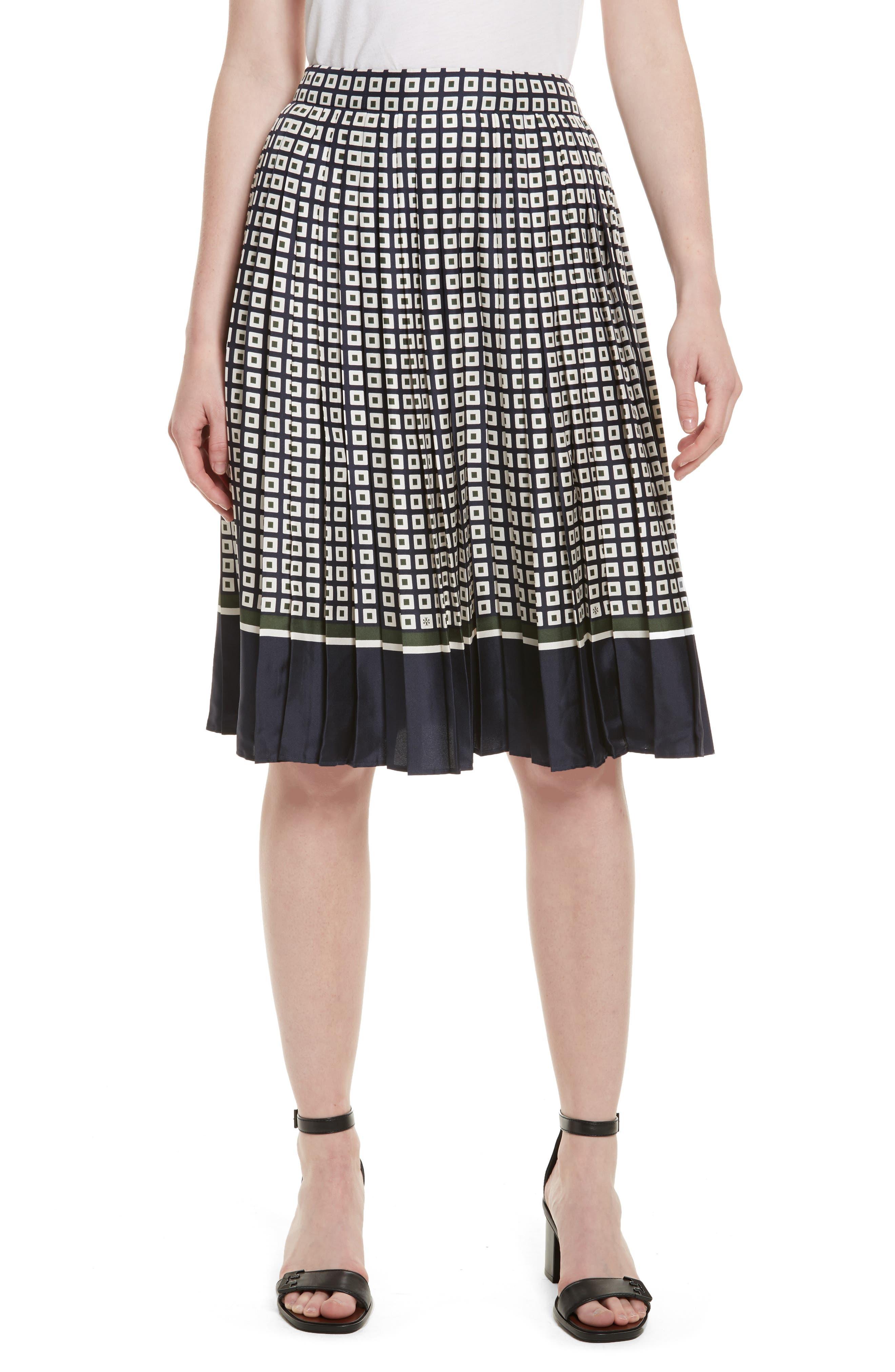 Marea Pleated Silk Skirt,                         Main,                         color, Milano Square Border