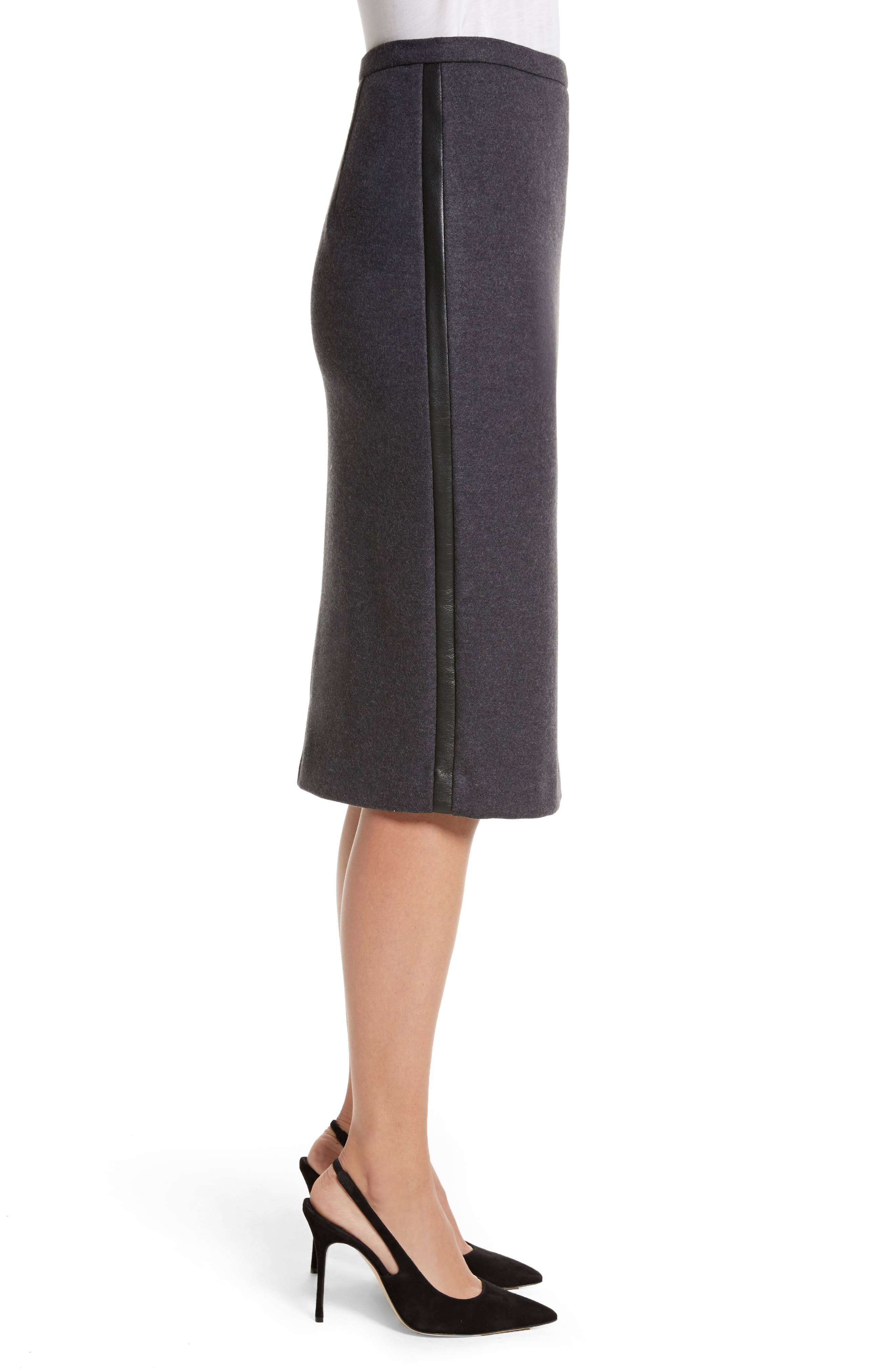 Nanna Leather Trim Wool Pencil Skirt,                             Alternate thumbnail 3, color,                             Dark Grey