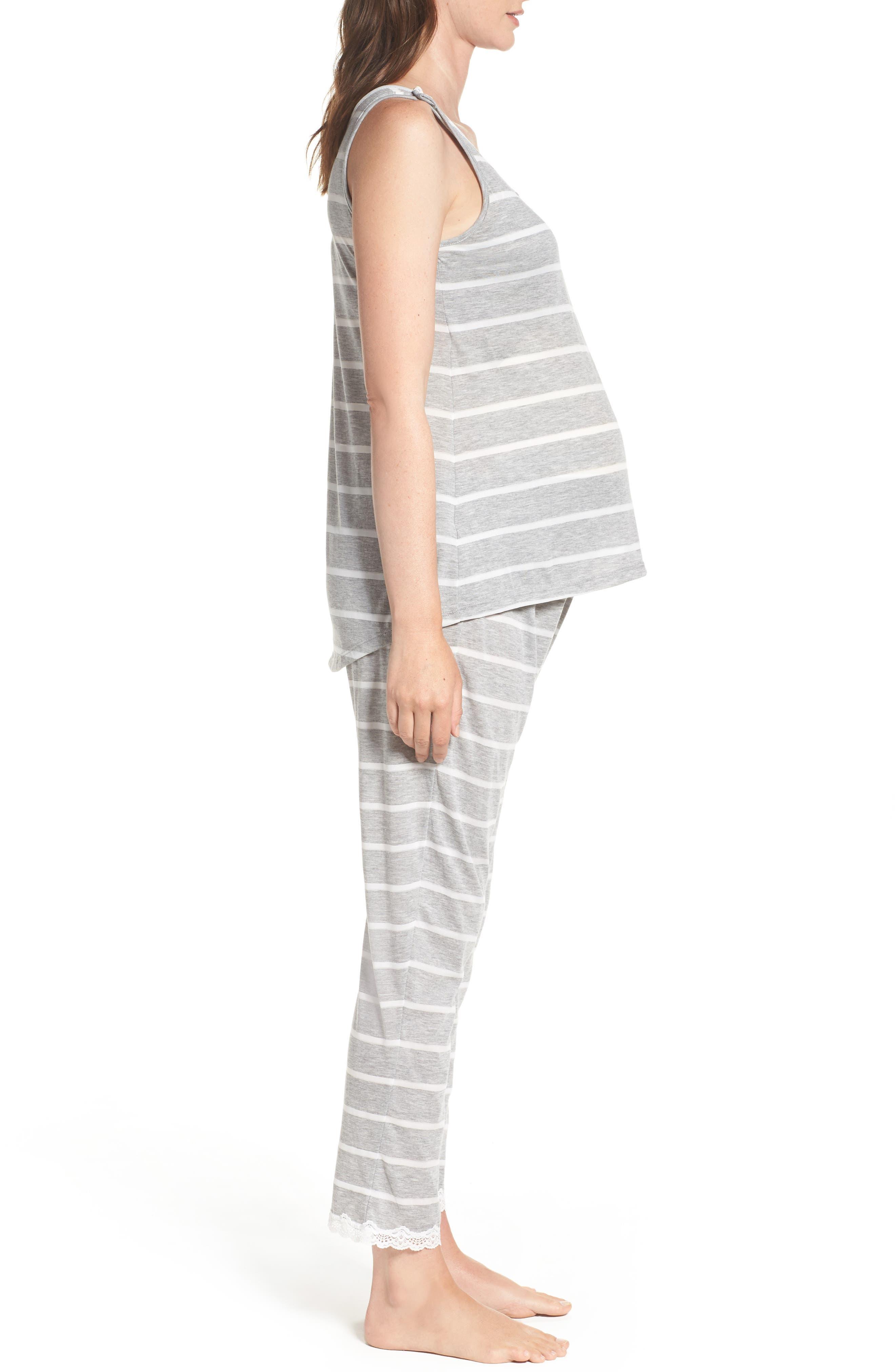Maternity/Nursing Tank Pajamas,                             Alternate thumbnail 3, color,                             Grey Stripe