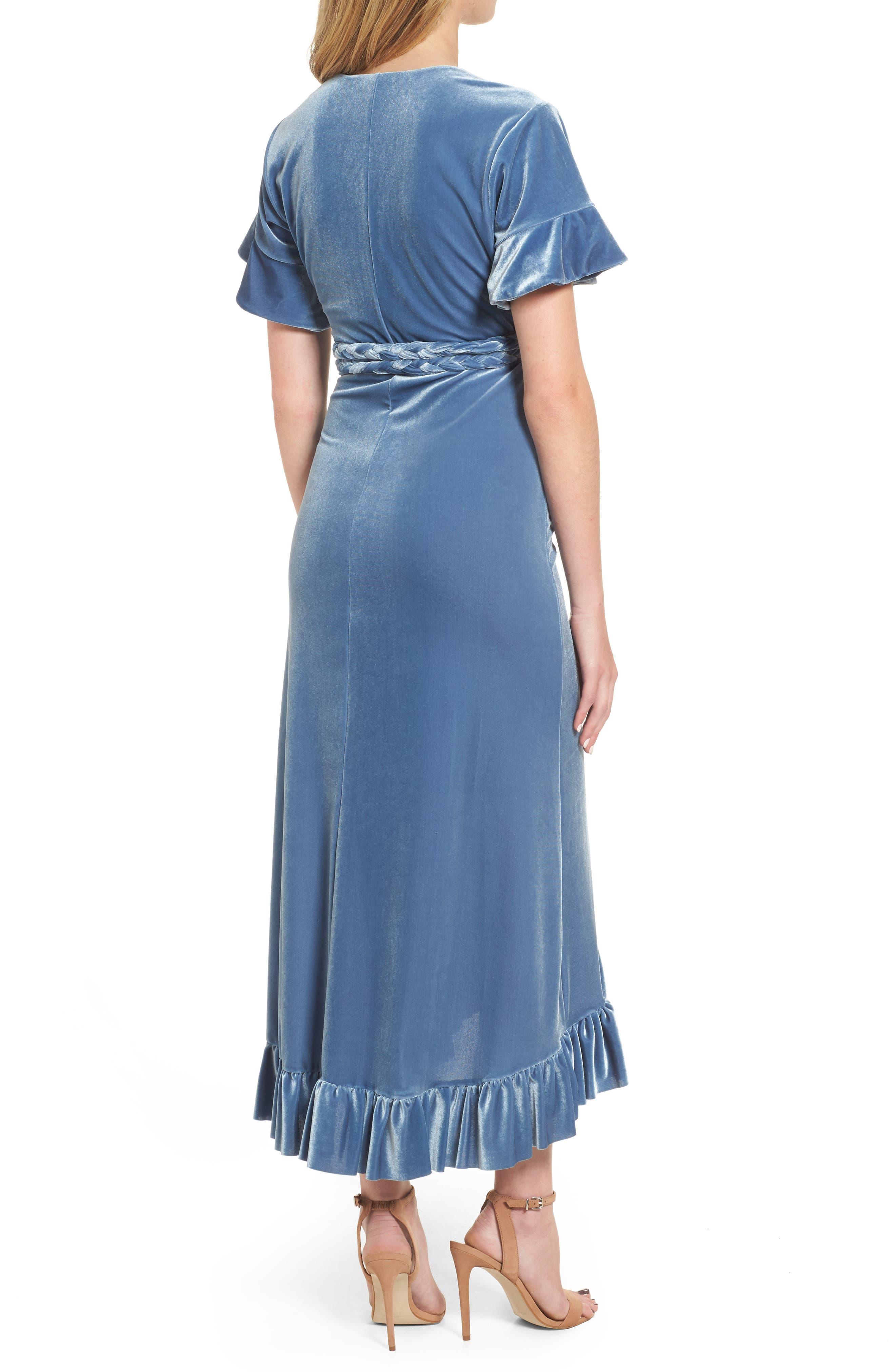 Selina Velvet Wrap Dress,                             Alternate thumbnail 2, color,                             Blue Velvet