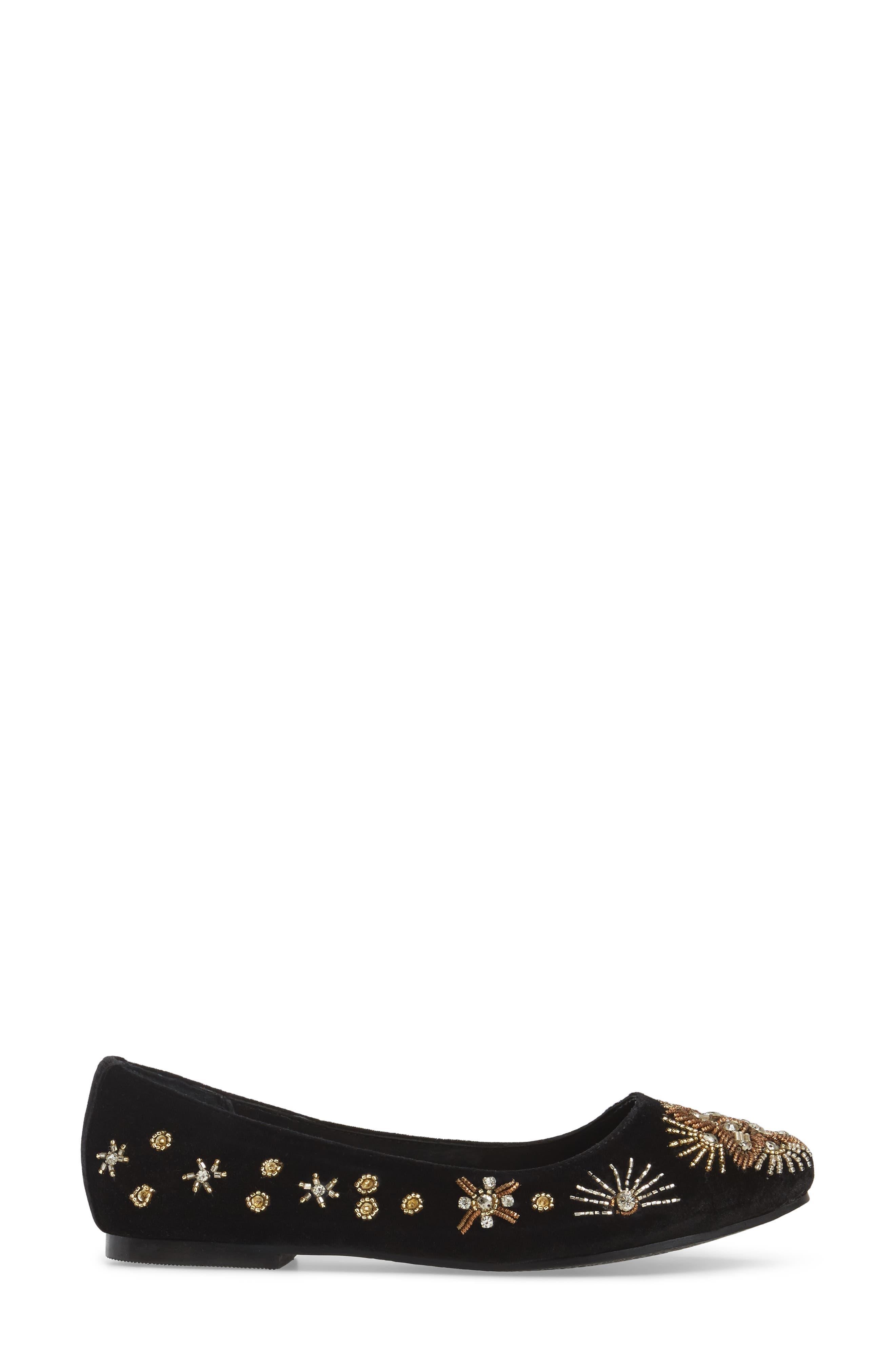 Labonge Embellished Flat,                             Alternate thumbnail 3, color,                             Black