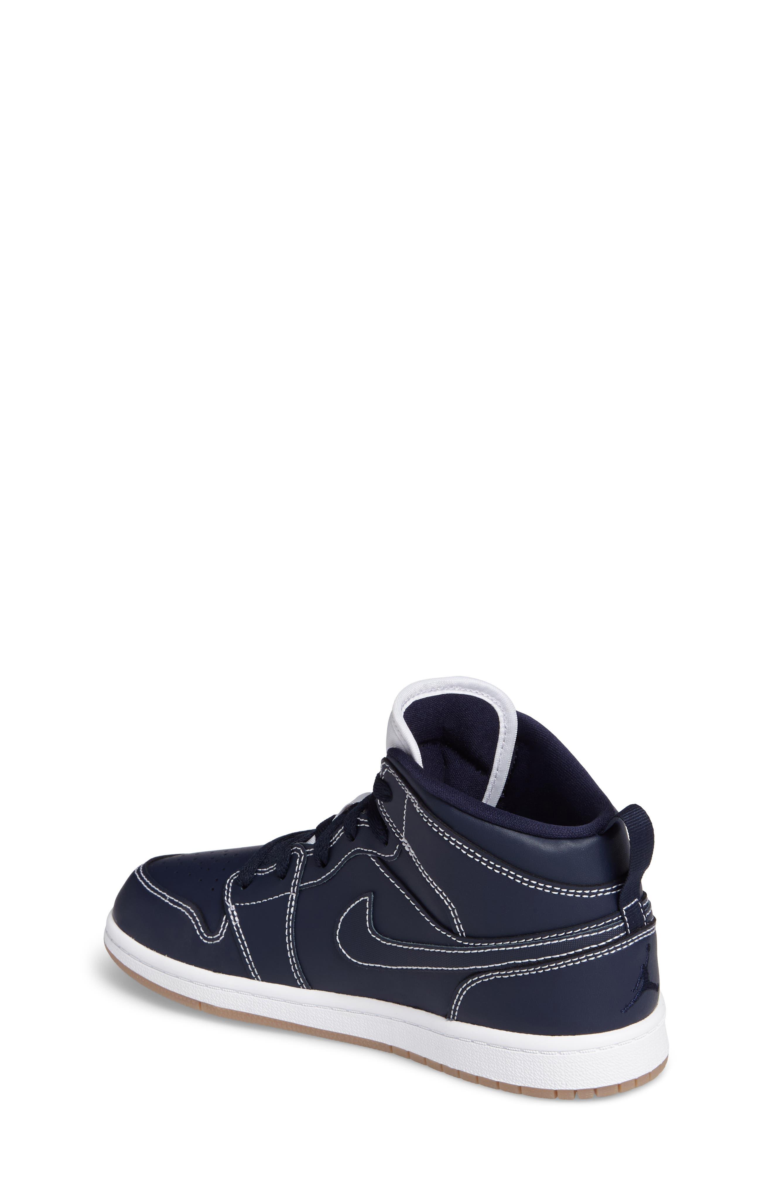 'Air Jordan 1' Mid Sneaker,                             Alternate thumbnail 2, color,                             Obsidian/ White