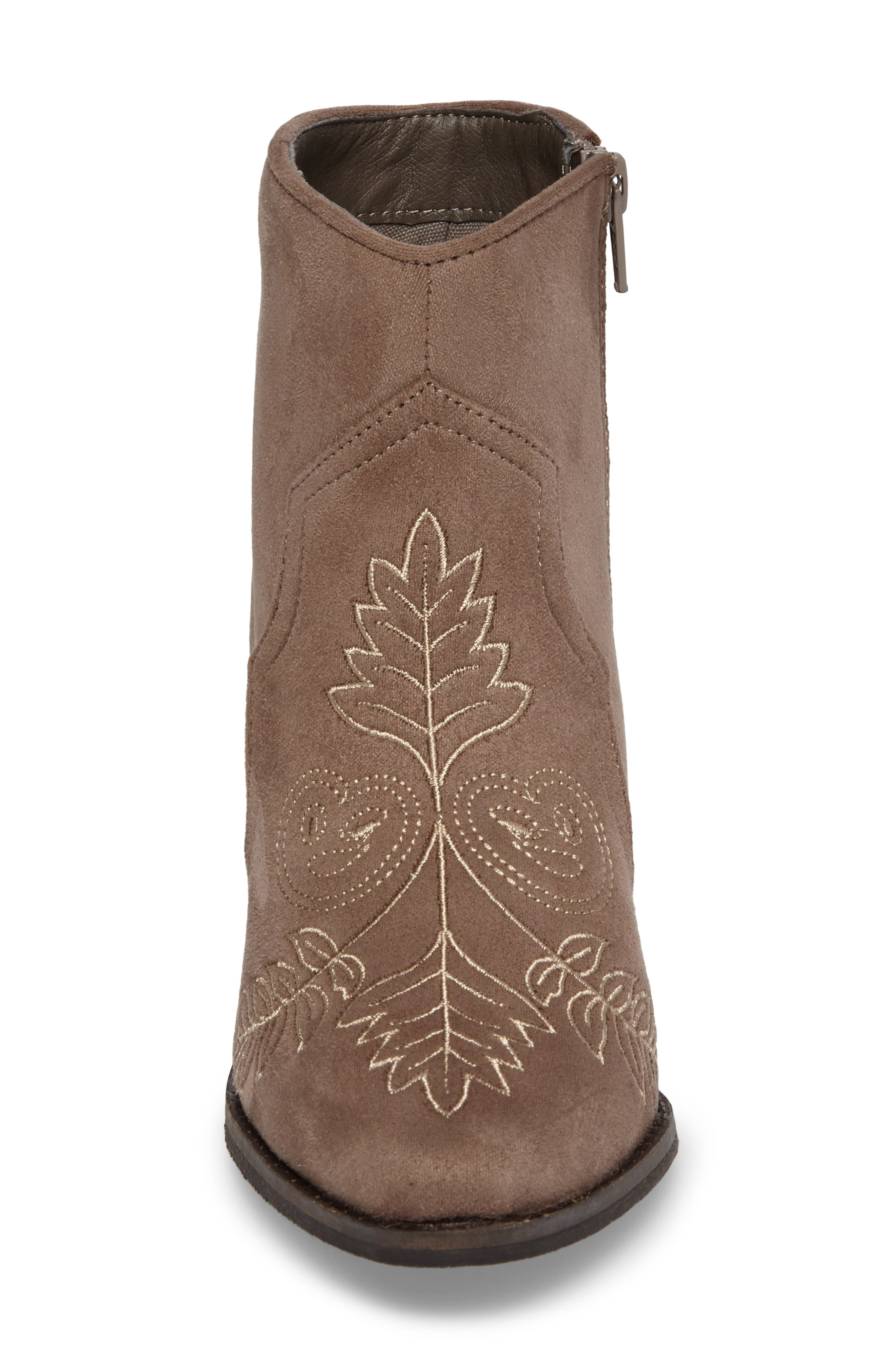 Axis Embroidered Bootie,                             Alternate thumbnail 4, color,                             Taupe Suede