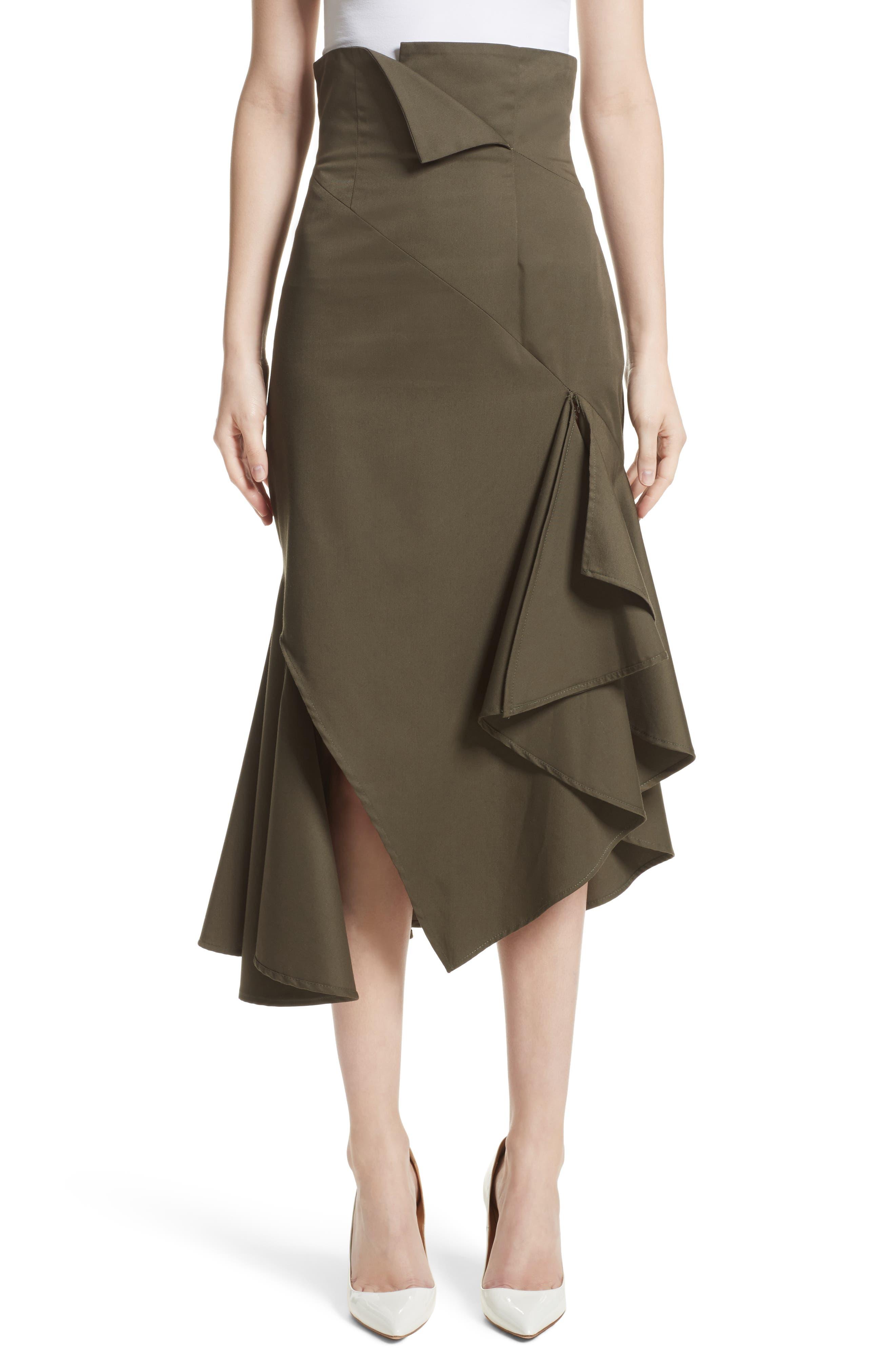 MONSE Twill Ruffle Hem Skirt