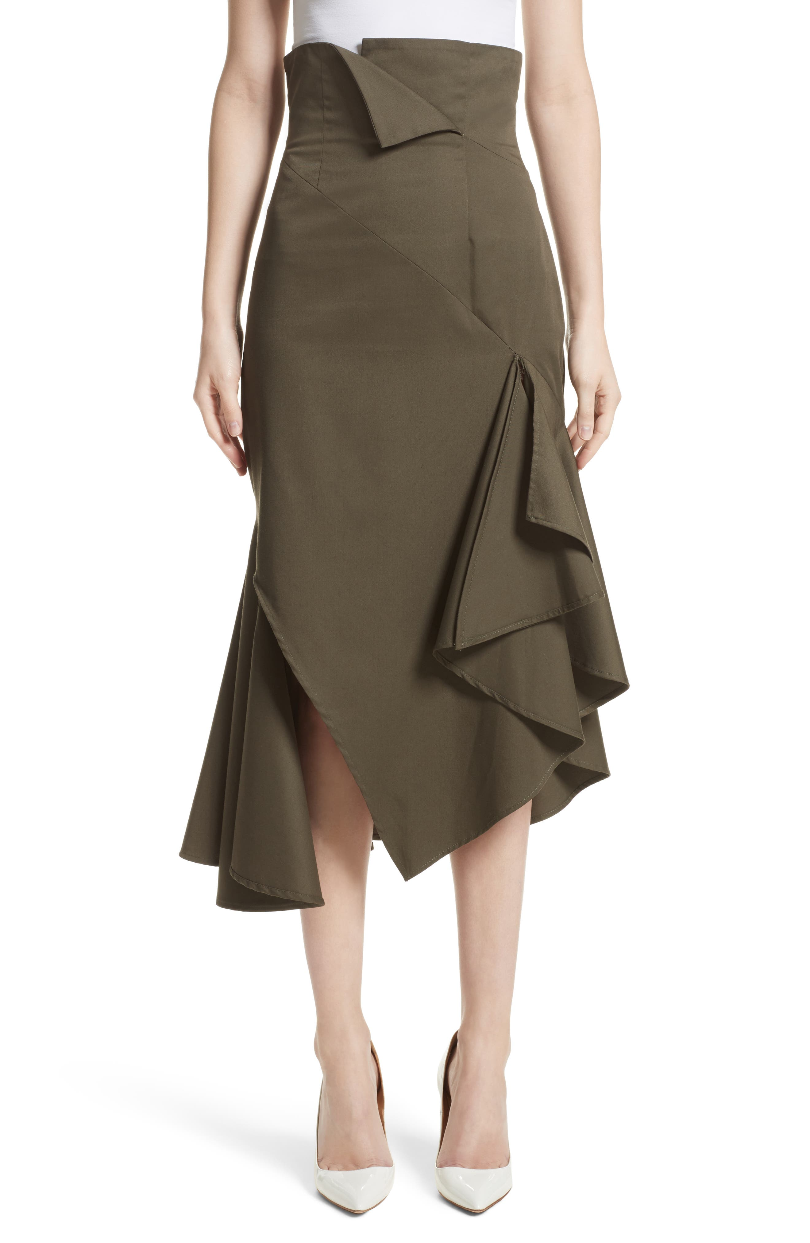 Monse Twill Ruffle Hem Skirt