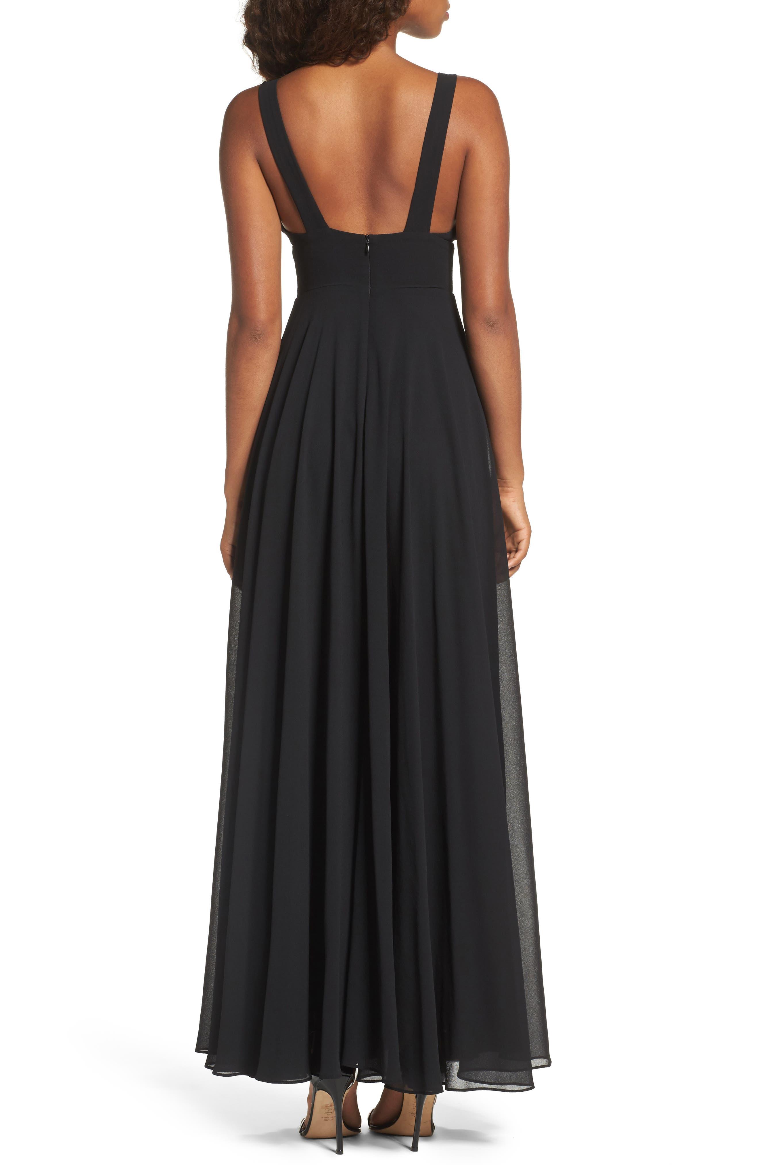 Lace Trim Chiffon Maxi Dress,                             Alternate thumbnail 2, color,                             Black