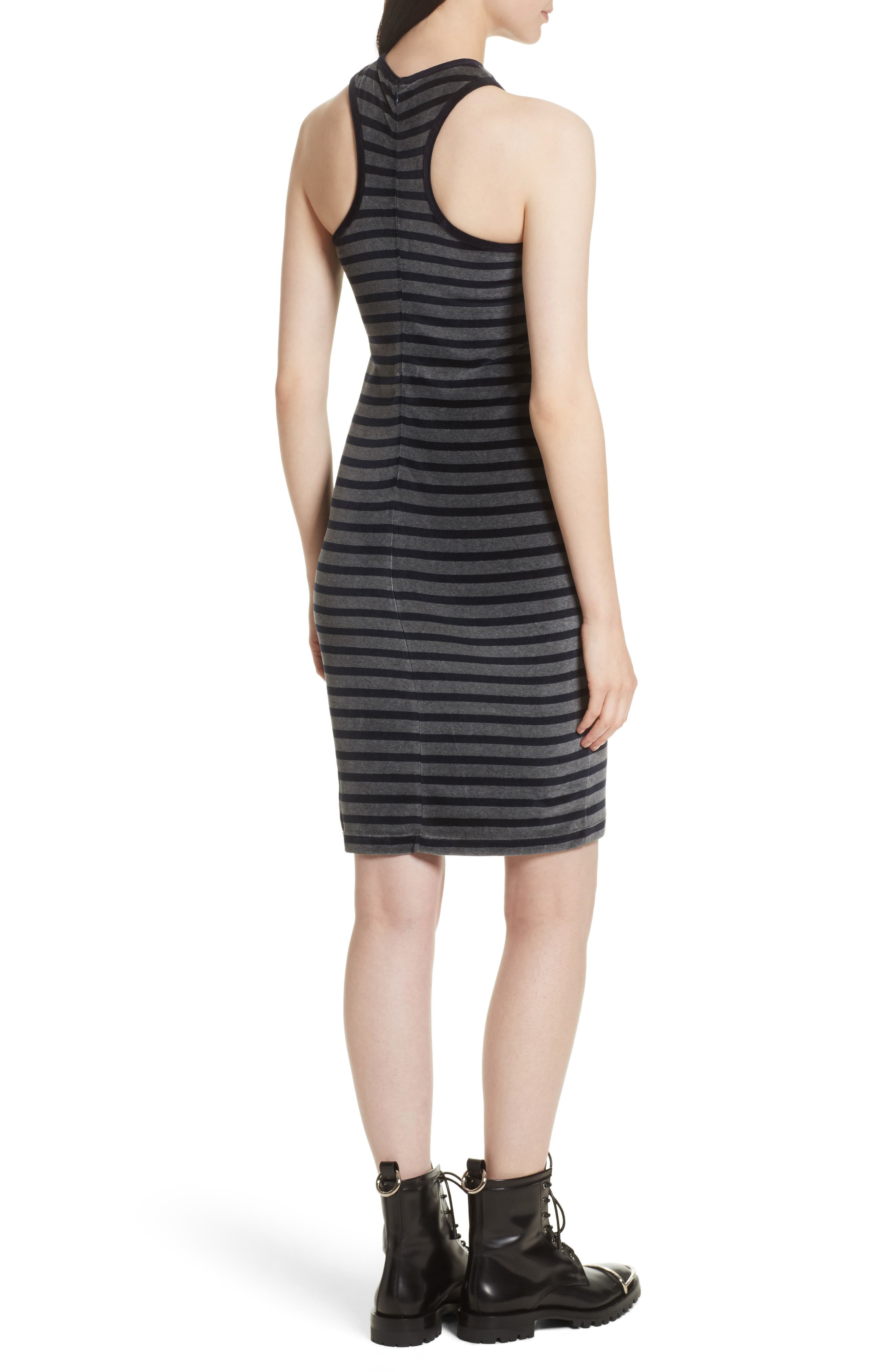 Alternate Image 2  - T by Alexander Wang Stripe Velour Racerback Dress