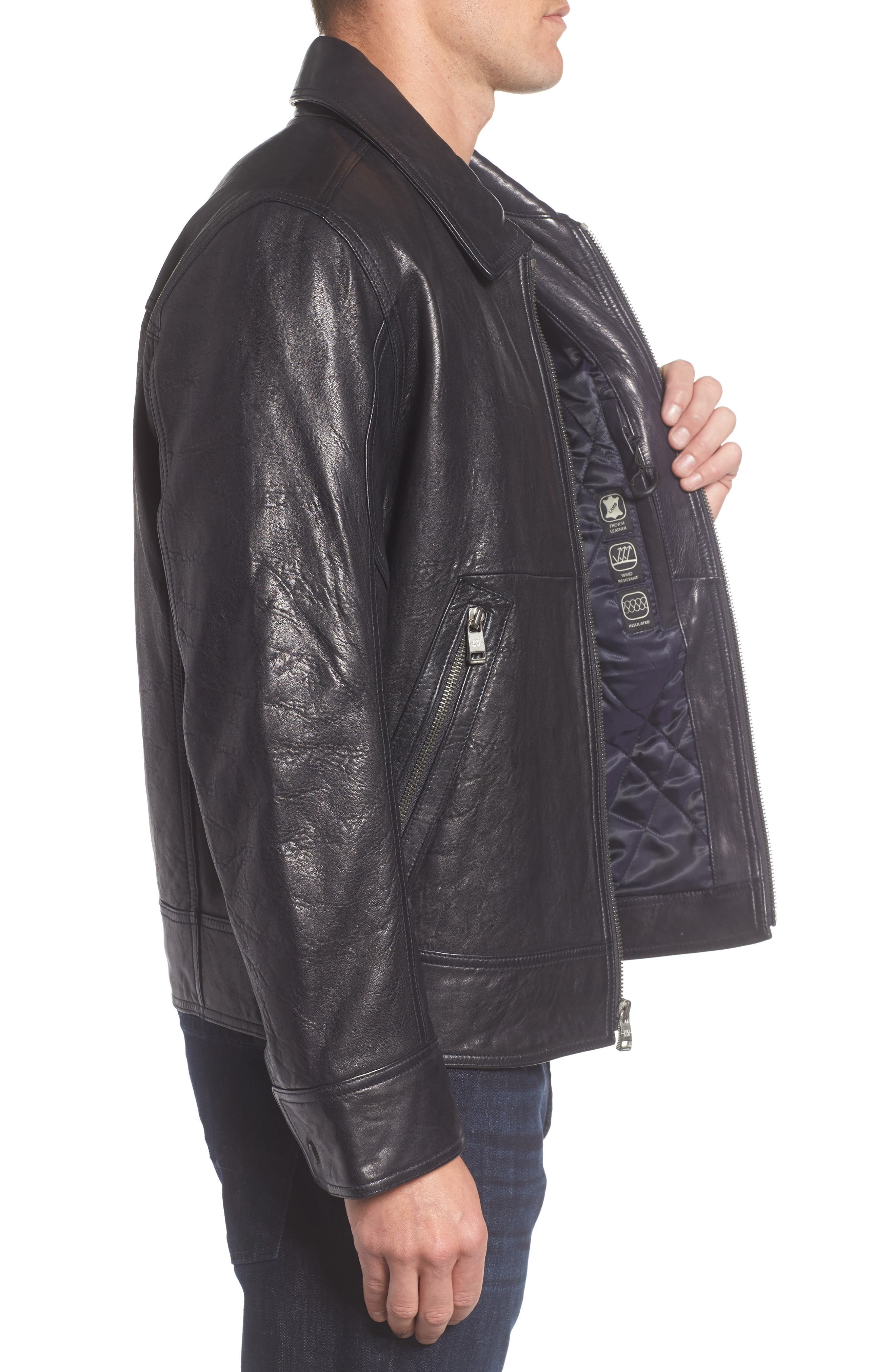 Morrison Spread Collar Leather Jacket,                             Alternate thumbnail 3, color,                             Ink