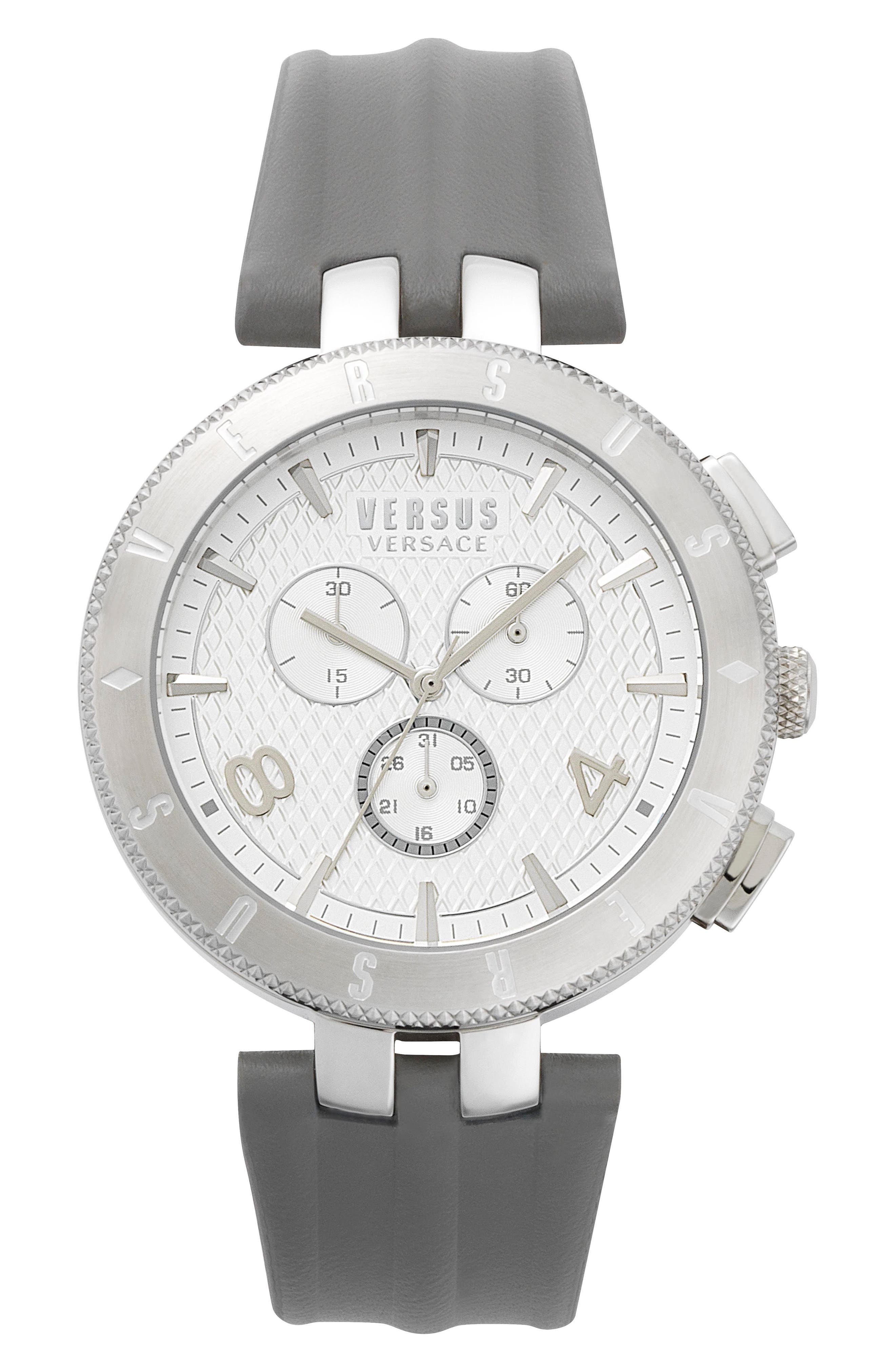 Versus by Versace Logo Chronograph Leather Strap Watch, 44mm,                         Main,                         color, Grey/ White/ Silver
