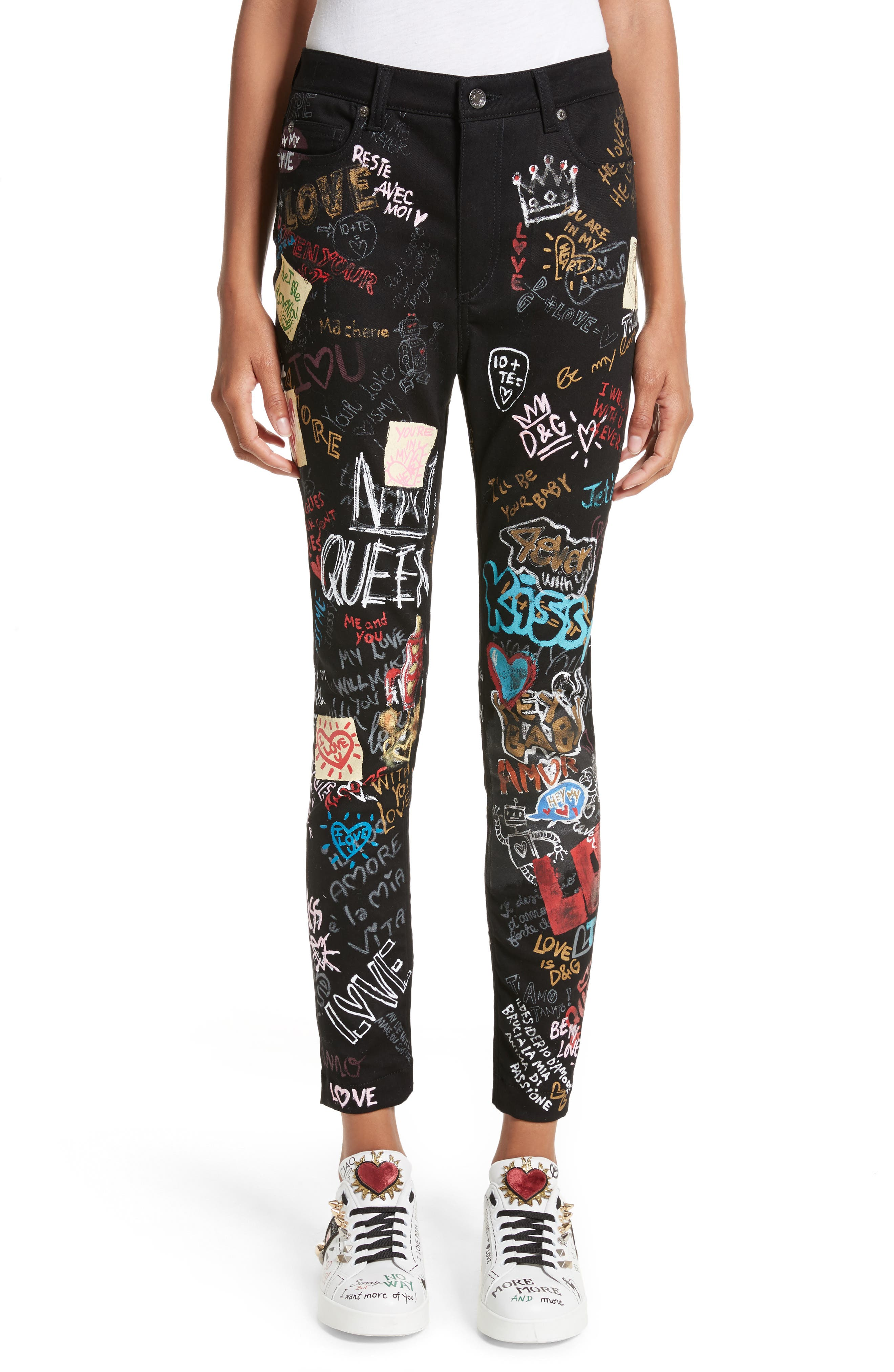 Dolce&Gabbana Graffiti Queen Skinny Jeans