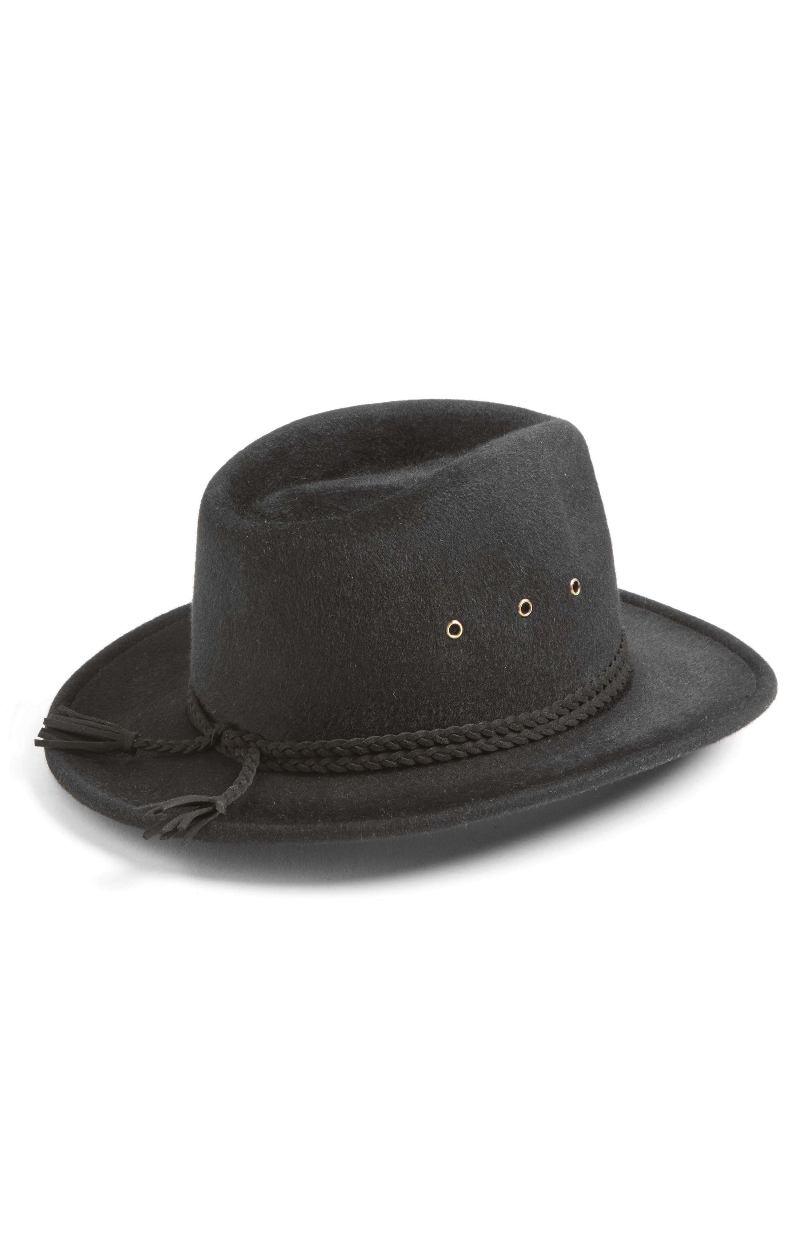 Stanwyck Wool Felt Fedora,                             Alternate thumbnail 2, color,                             Black
