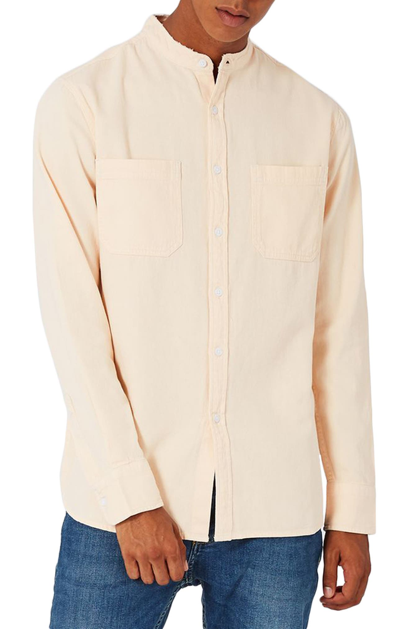 TOPMAN Washed Twill Frayed Band Collar Shirt
