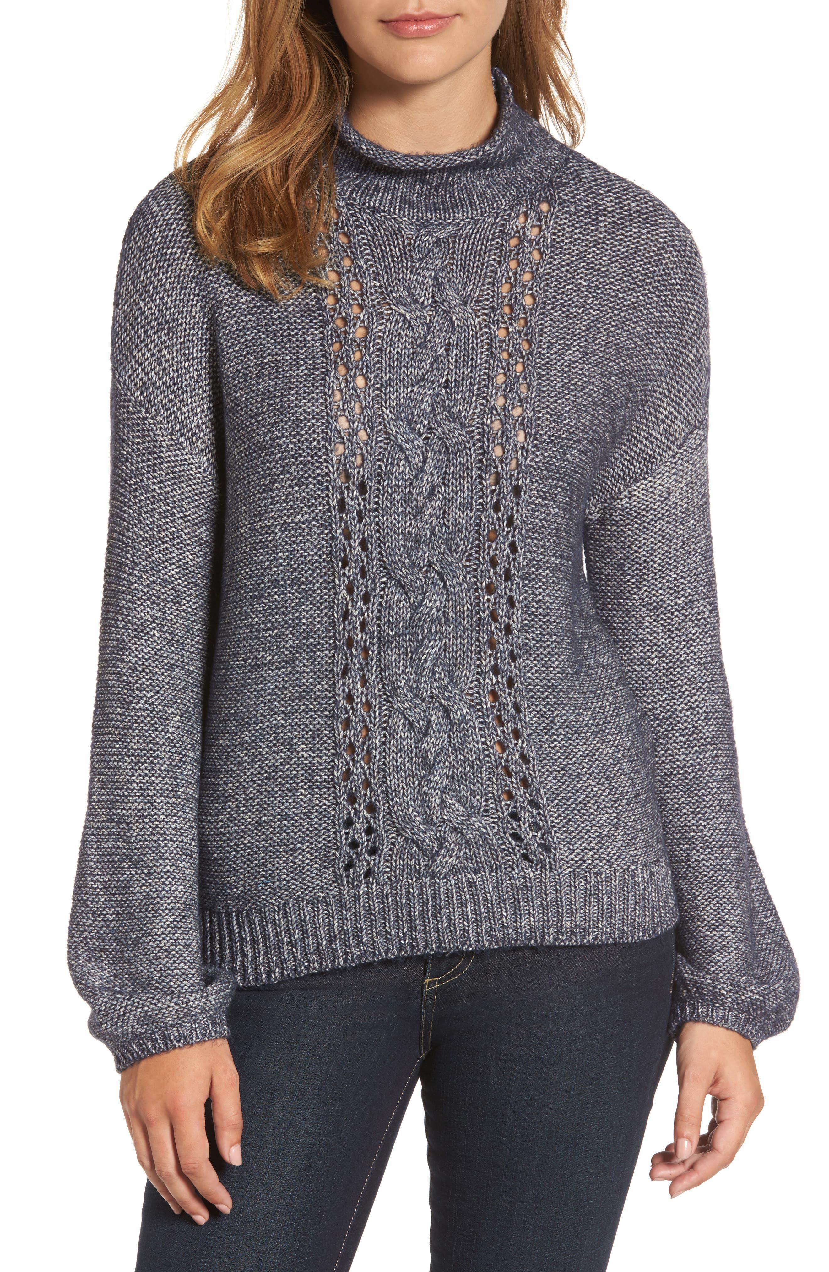 Caslon® Open Cable Knit Funnel Neck Sweater (Regular & Petite)