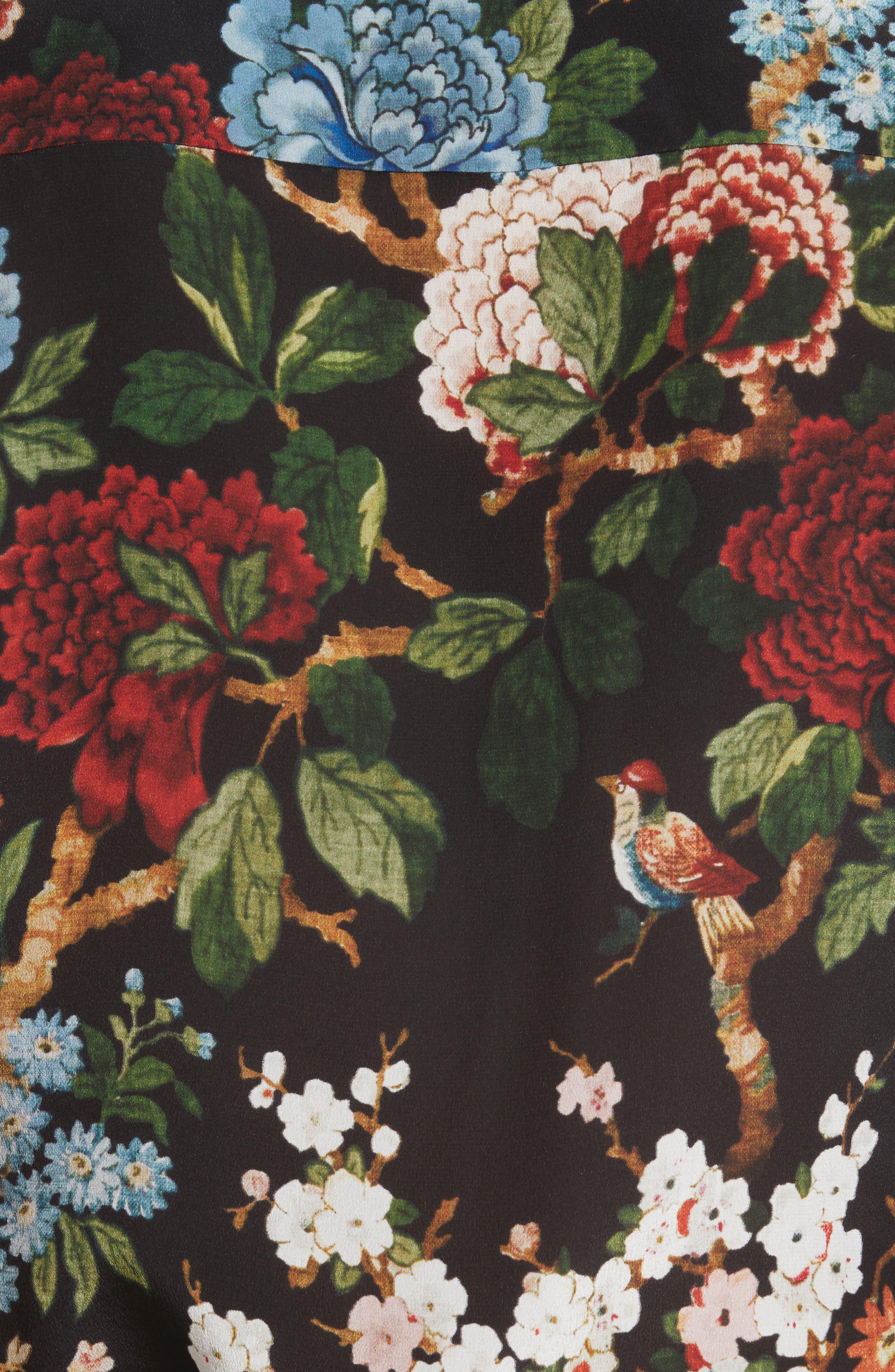 Alternate Image 5  - Alice + Olivia Cal Print Silk Shirt