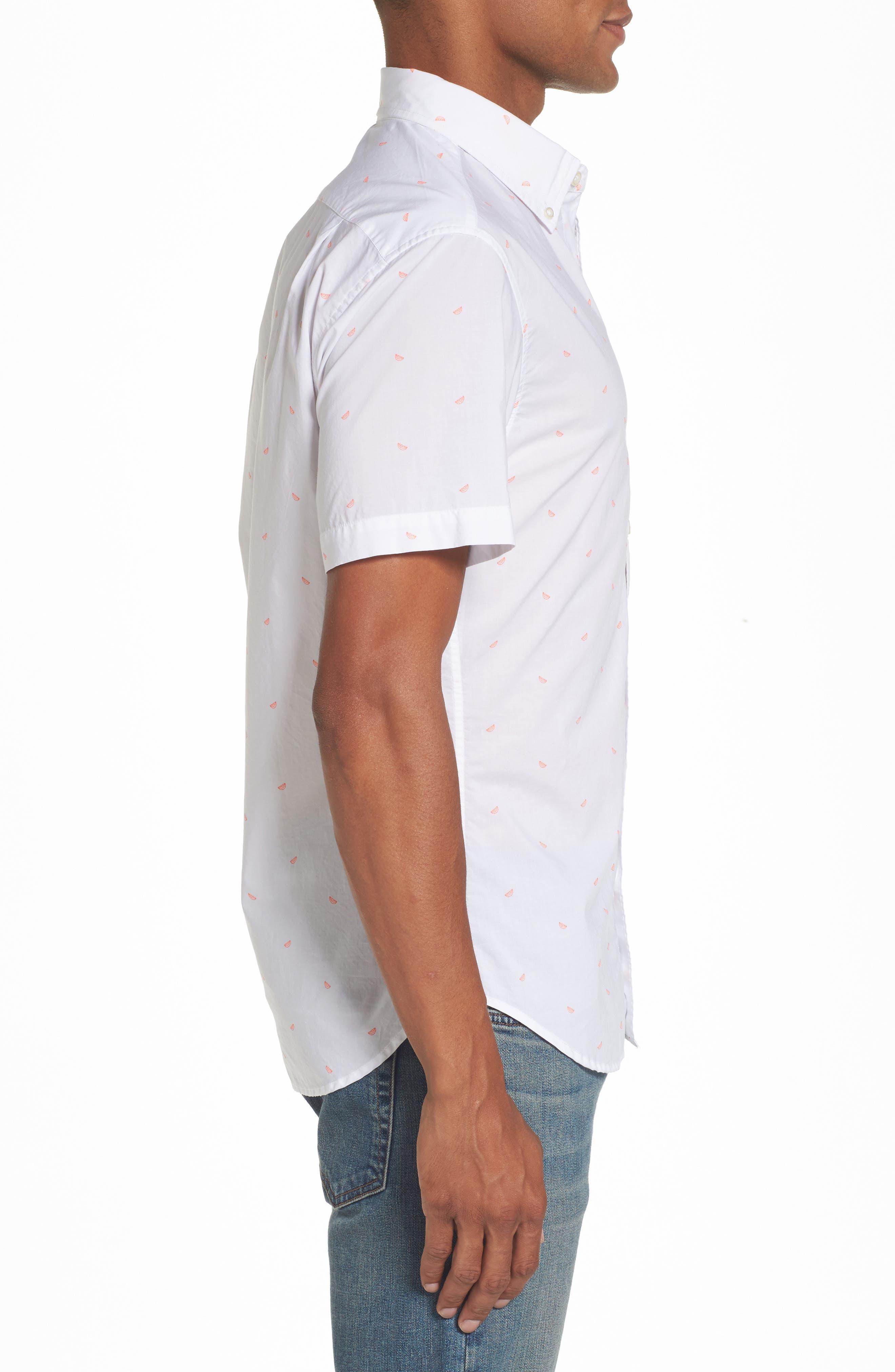 Riviera Slim Cut Citrus Woven Shirt,                             Alternate thumbnail 3, color,                             Lime Wedge Print