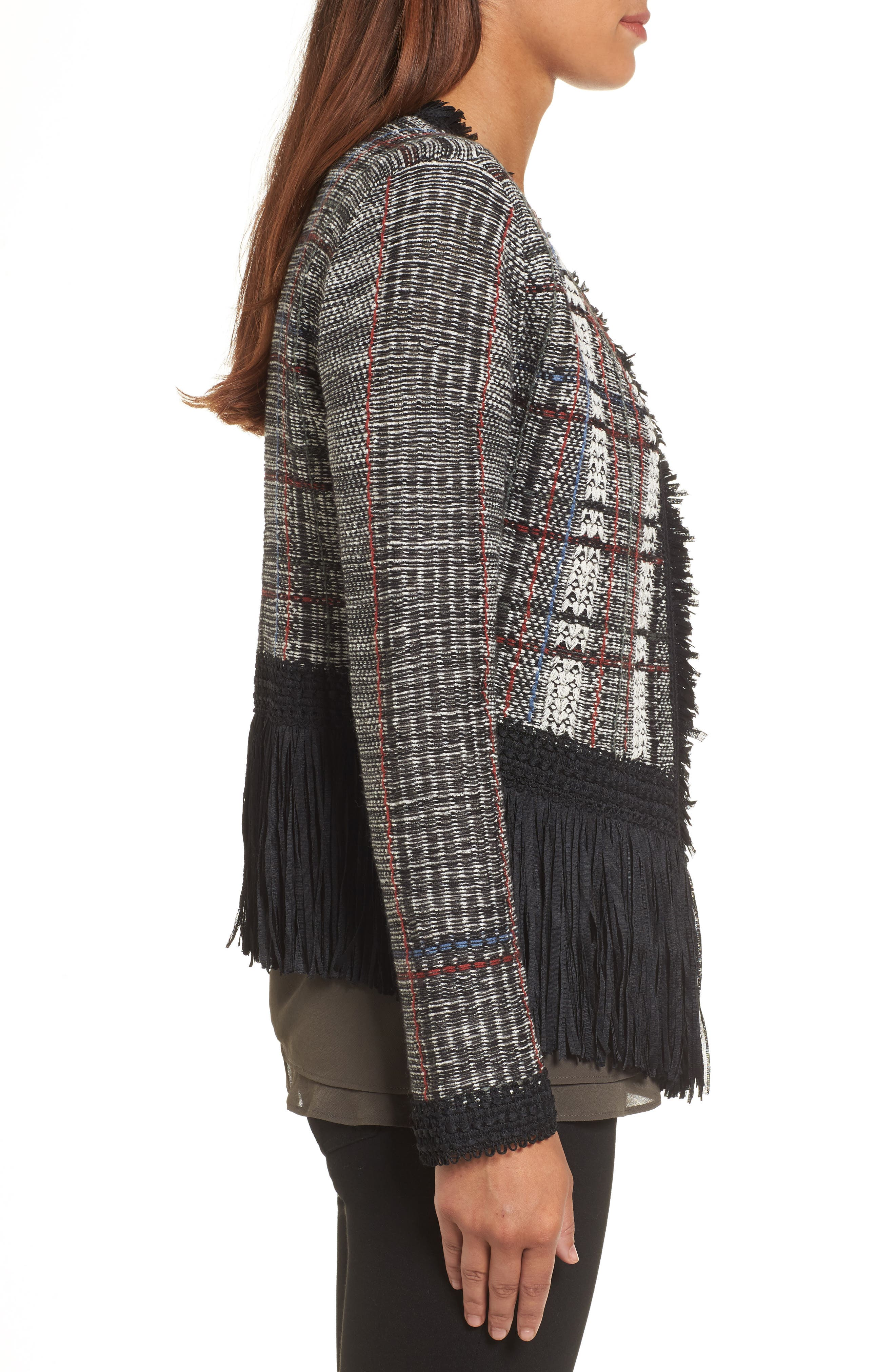 Alternate Image 3  - NIC+ZOE Plaid Tweed Fringe Jacket (Regular & Petite)