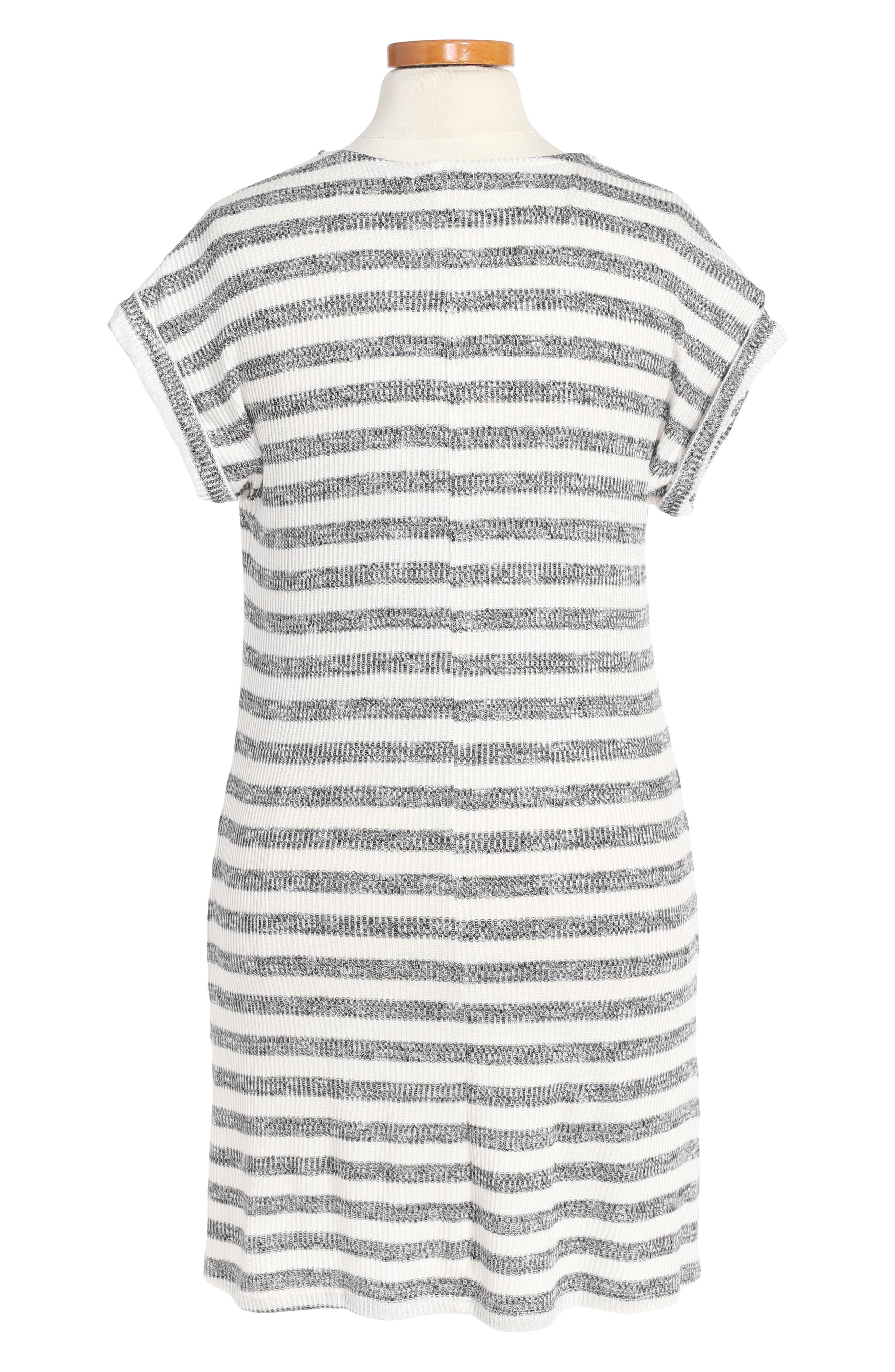 Stripe Knit Dress,                             Alternate thumbnail 2, color,                             White/ Black