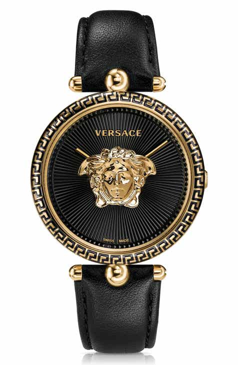 05d07b248b Versace Palazzo Empire Leather Strap Watch, 39mm